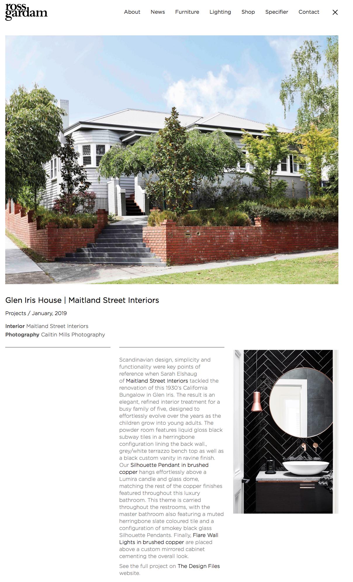 Sarah Elshaug, Maitland Street Interiors, Ross Gardam Lighting, Interior Decorator, Melbourne Interiors, Bathroom Design, Feature Lighting, Bathroom Lighting