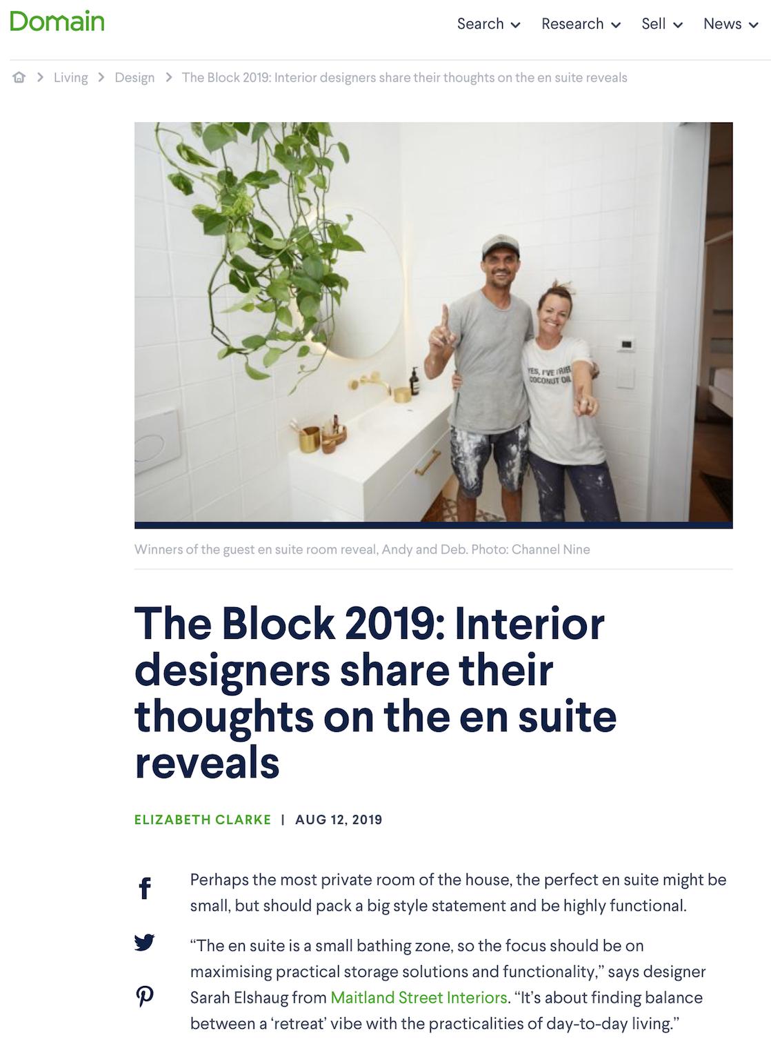 Sarah Elshaug, Maitland Street Interiors, The Block 2019, Elizabeth Clarke, Maitland Street Interiors, Ensuite Design