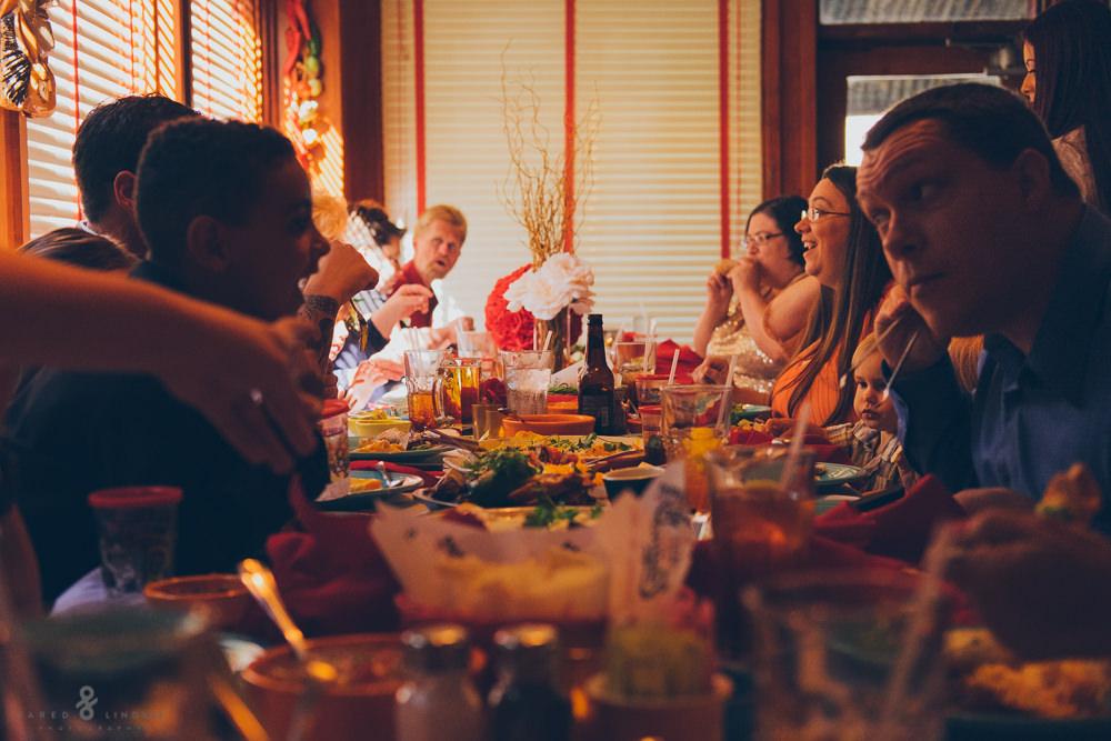 Guests at eating at wedding reception