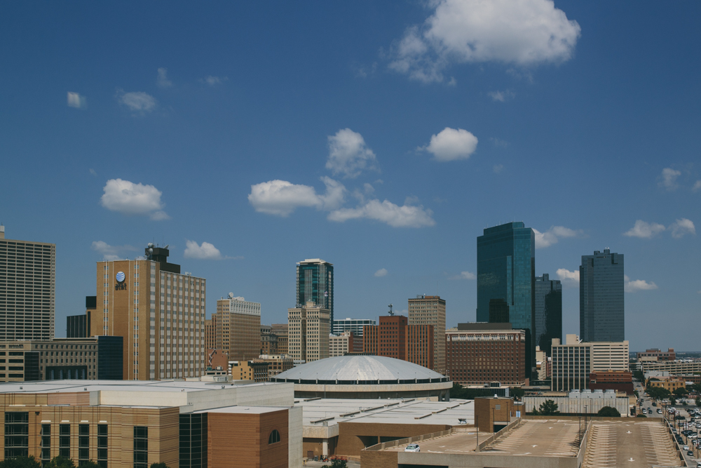 Skyline of downtown Fort Worth, Texas from hotel room