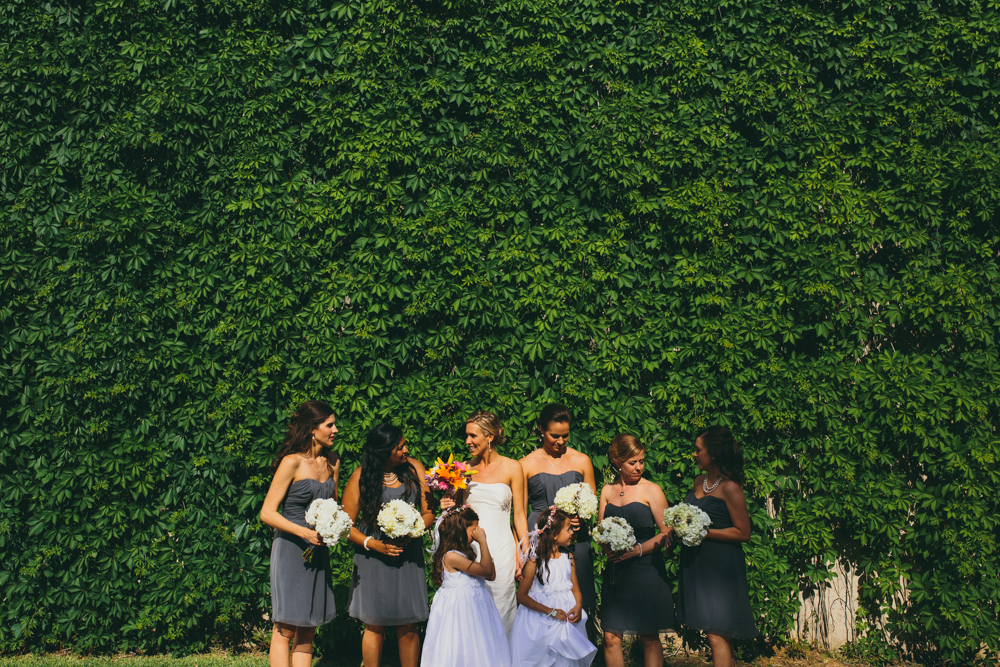 Photograph of bride and brides maids at Texas Christian University wedding