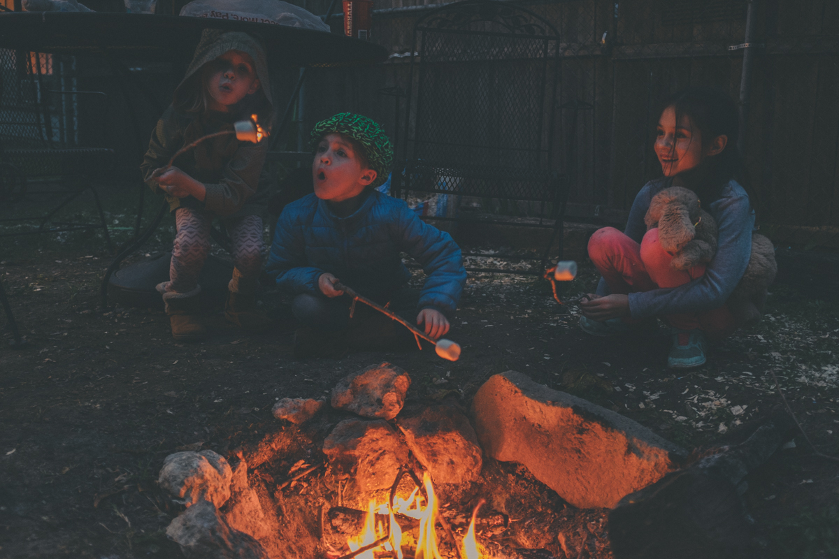 Our babies, Harper, Jack, and Marleigh at our much used backyard fire pit
