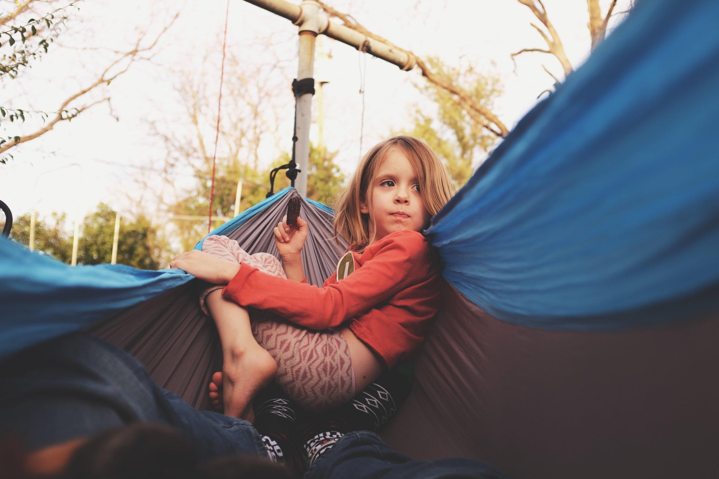 "December 31, 2016 Harper Meadow and ""Da-Da"", in the hammock"