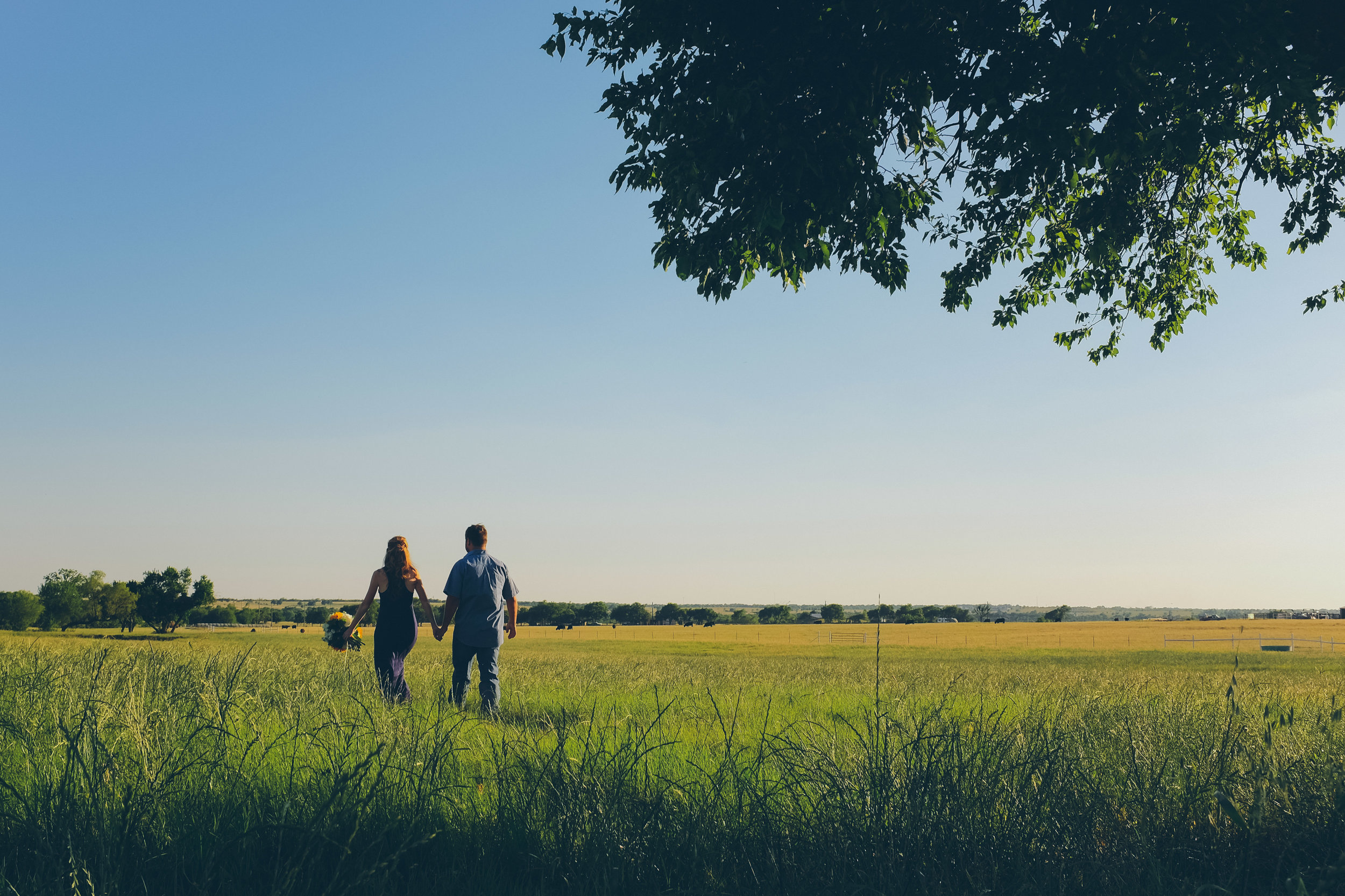 Bride and groom walking hand in hand in a big open field.
