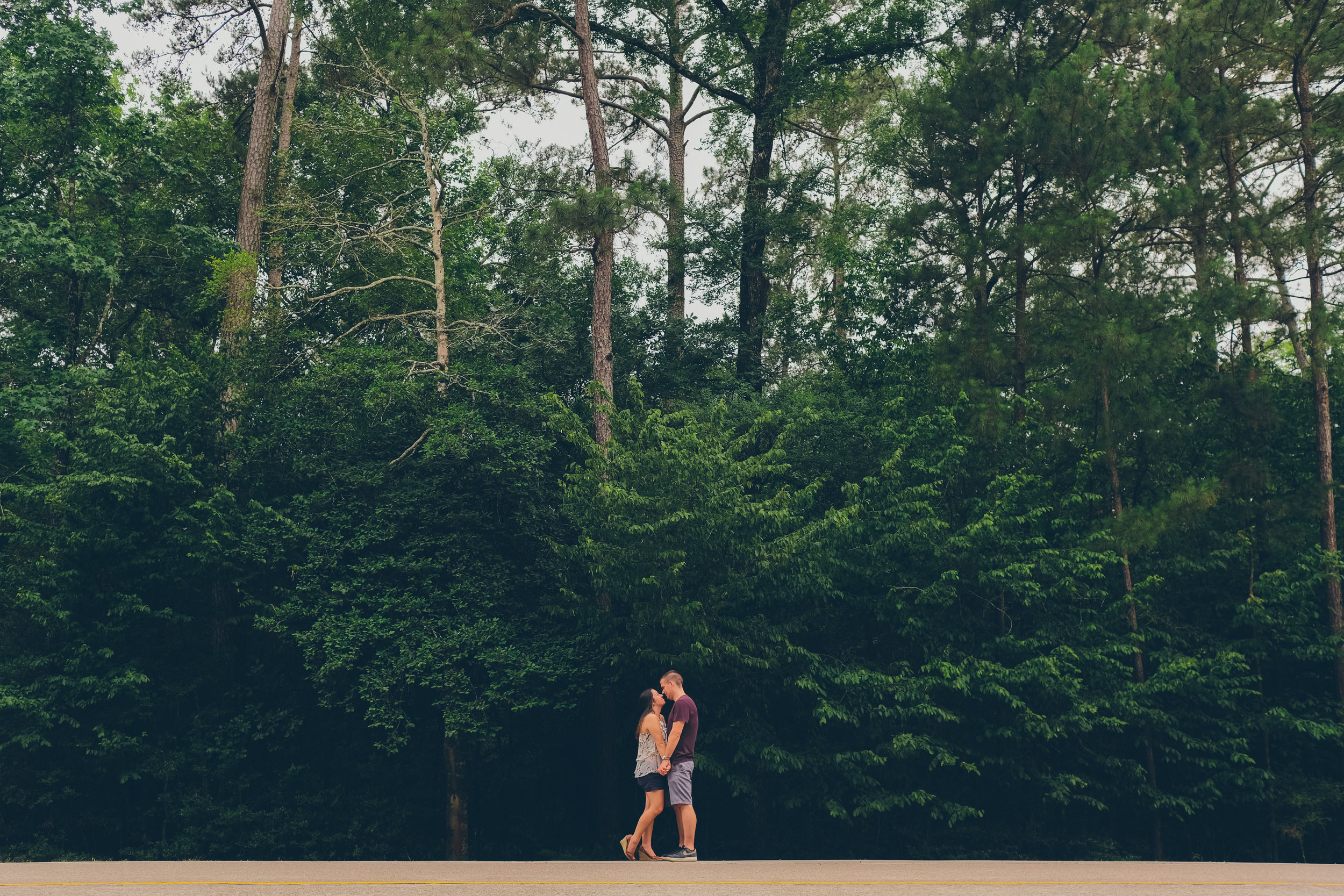 Color photo of couple kissing in front of grove of trees