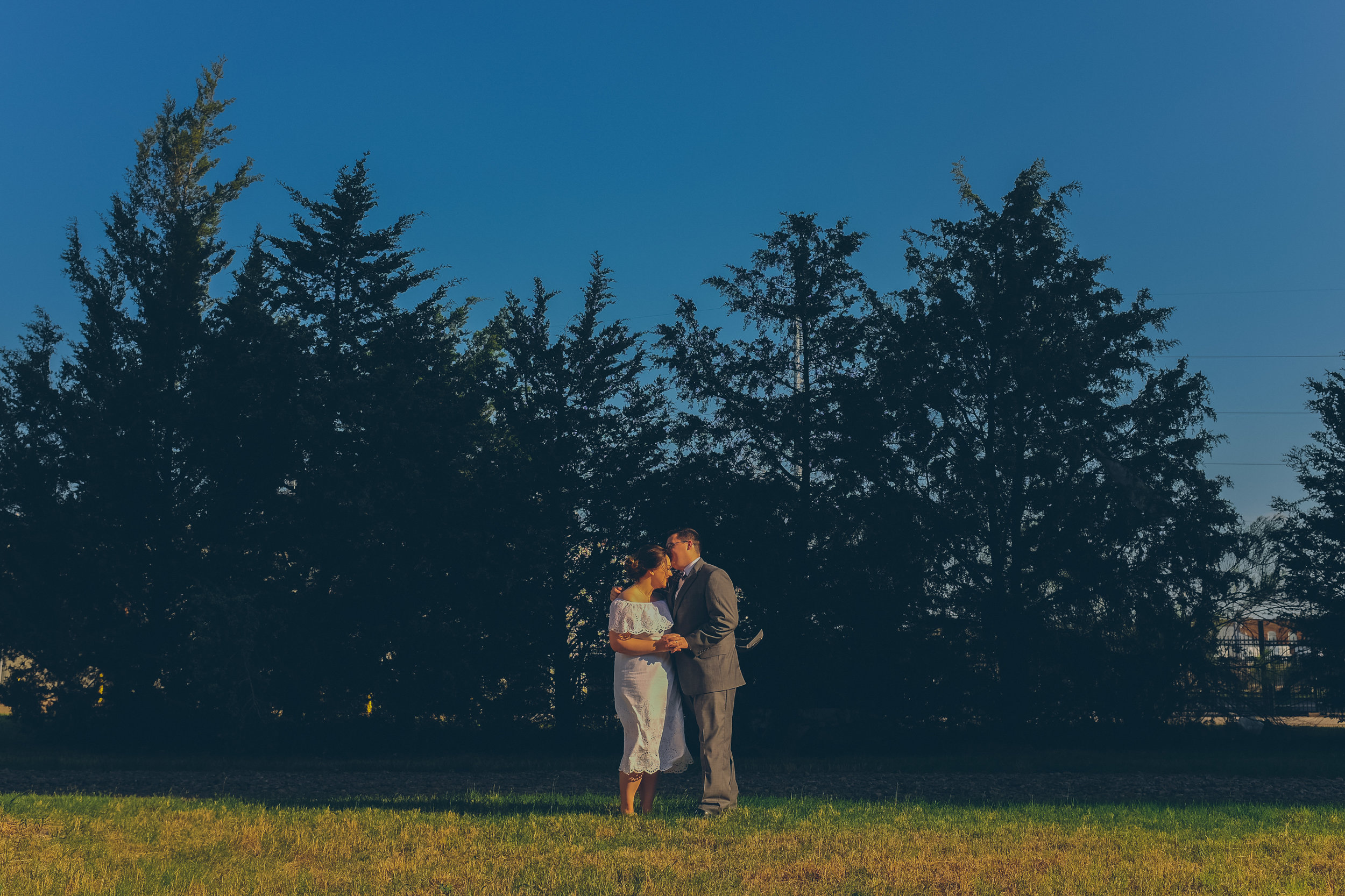 Bride and groom kissing in front of grove of trees