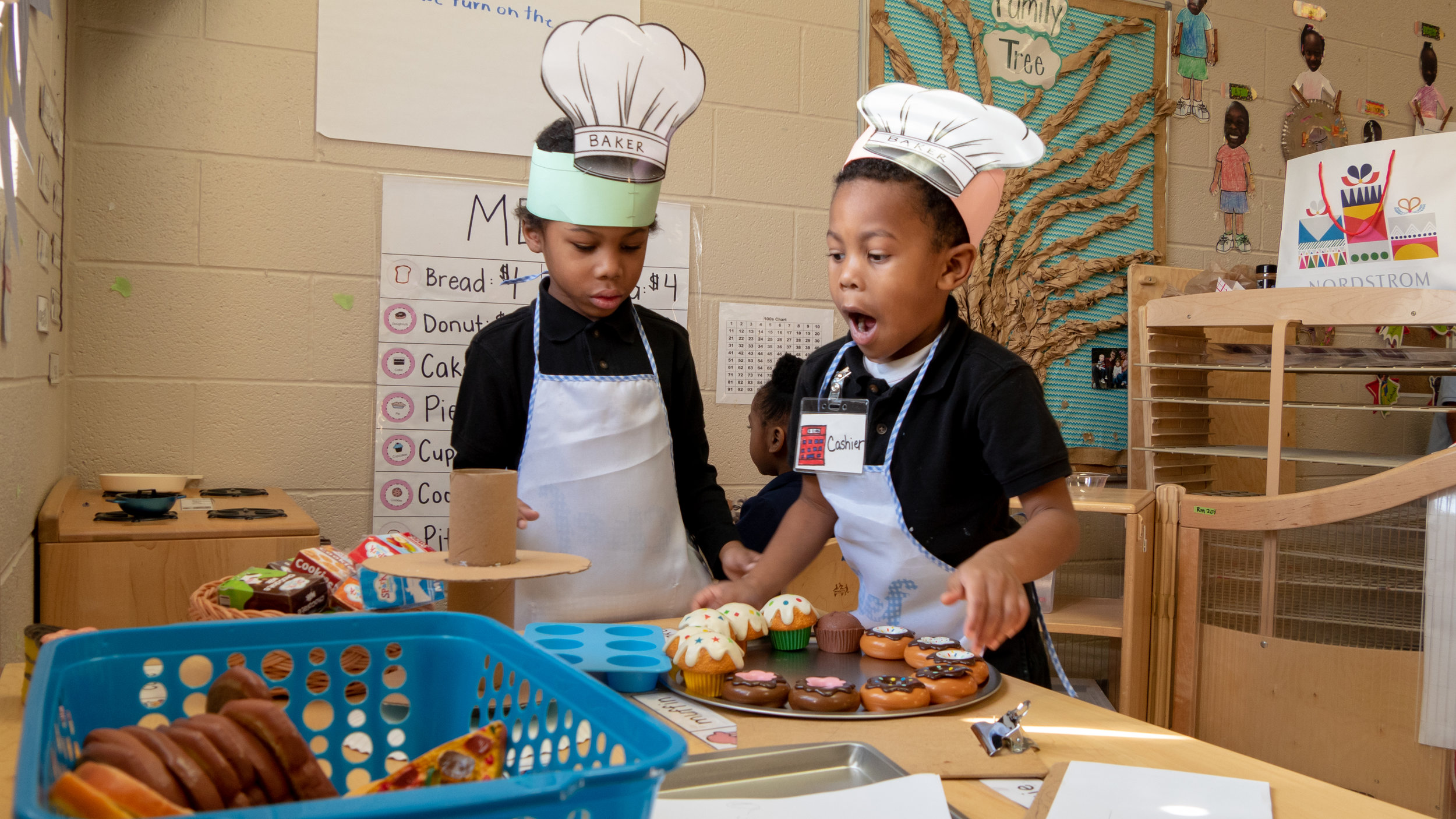 Pre-K students spend time at a center