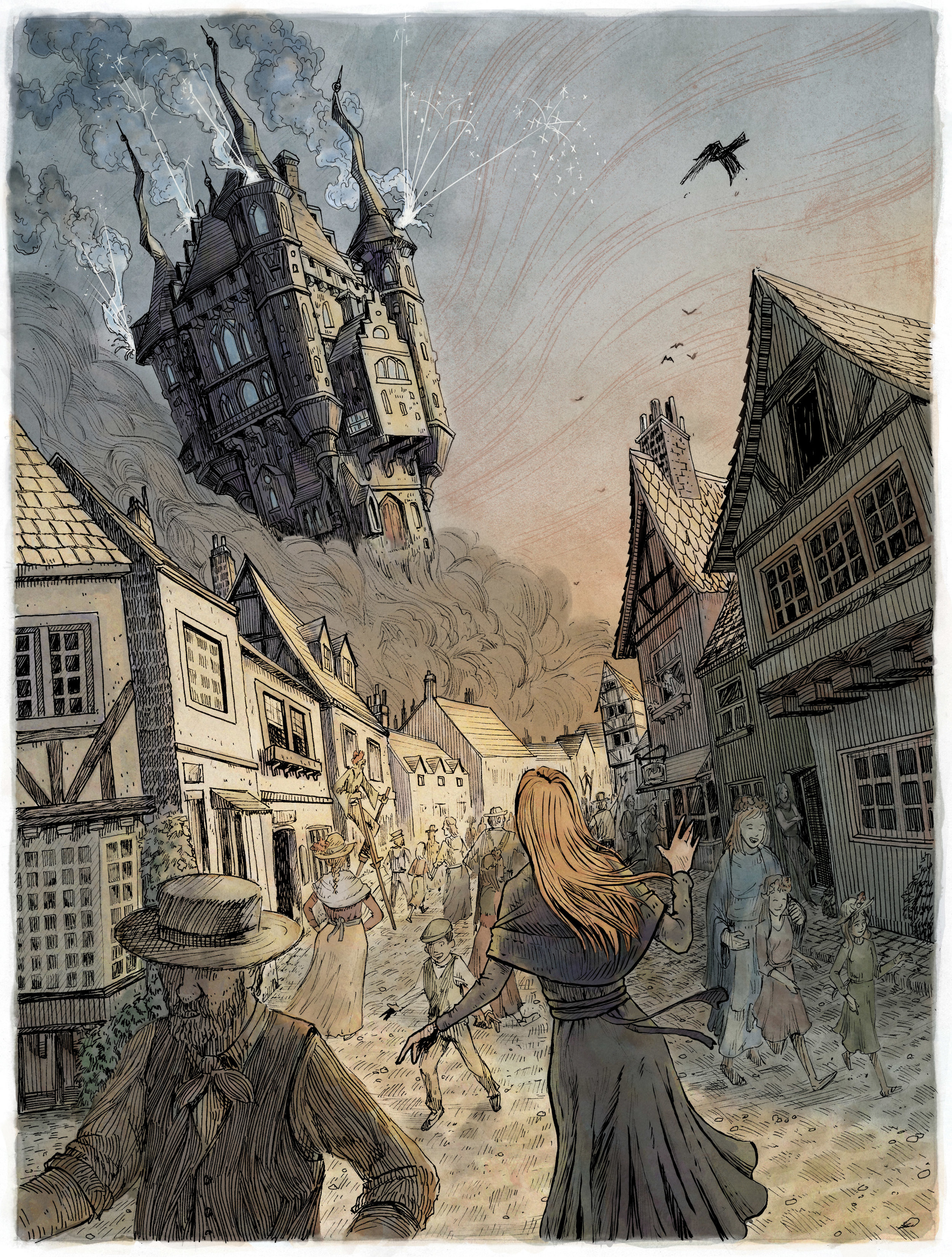 "Howl's Moving Castle on May Day  Chapter 1 ""She looked up and saw Wizard Howl's castle right down on the hillside above the town, so near it seemed to be sitting on the chimneys."""