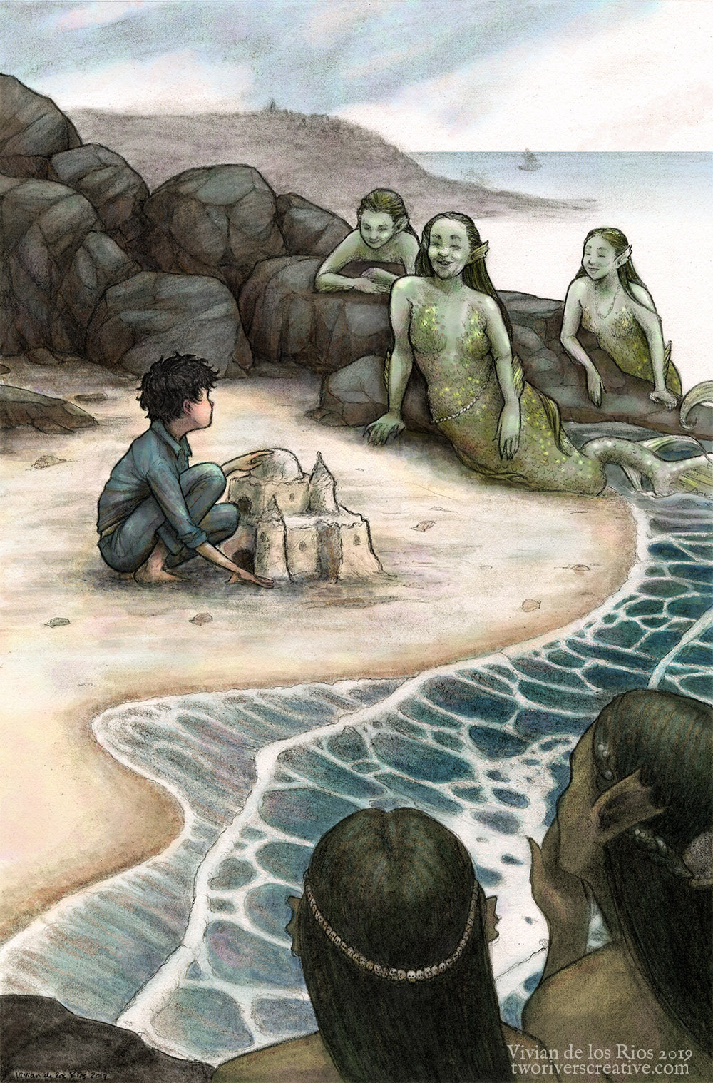 """Mermaids"" - Graphite pencil and digital."