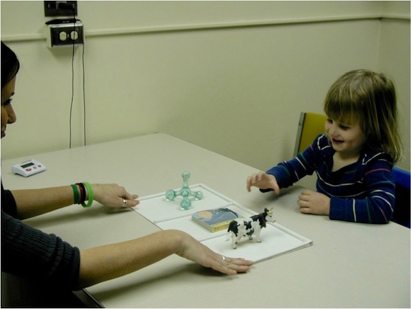 A participant and research assistant playing one of our word learning games.