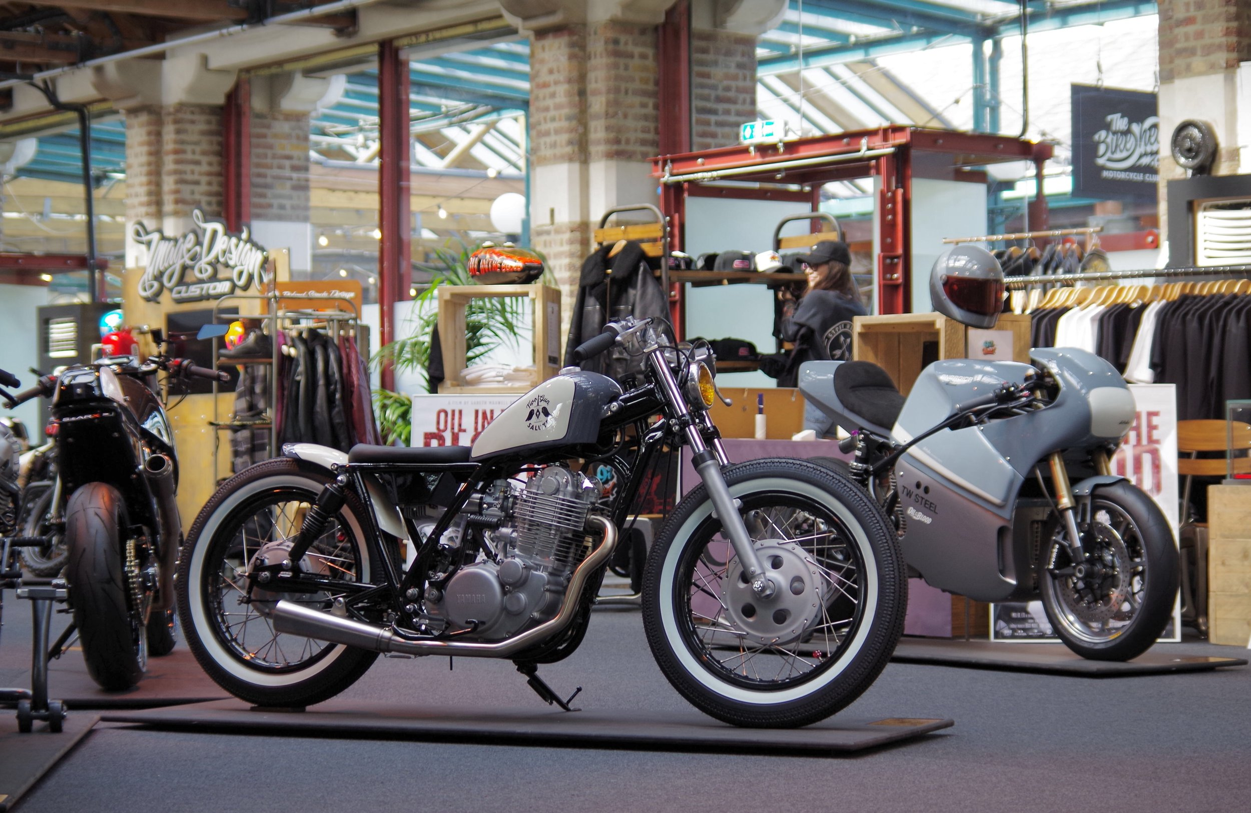 The Two Gun Salute x Smith & Sons custom SR400 in great company at the Bike Shed London Show back in May