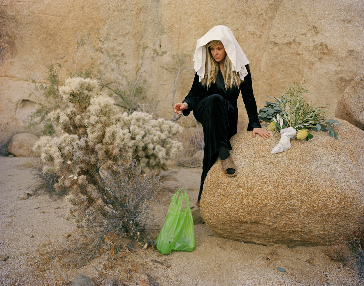"""""""Cholla Bag with Toe Hole Stocking, Reaching,"""" 2018. Archival Inkjet print on Canson Baryta. 32"""" x 40""""  Collection of the Samuel Dorsky Museum of Art, in gratitude to the Hudson Valley Artist Purchase Award 2018."""