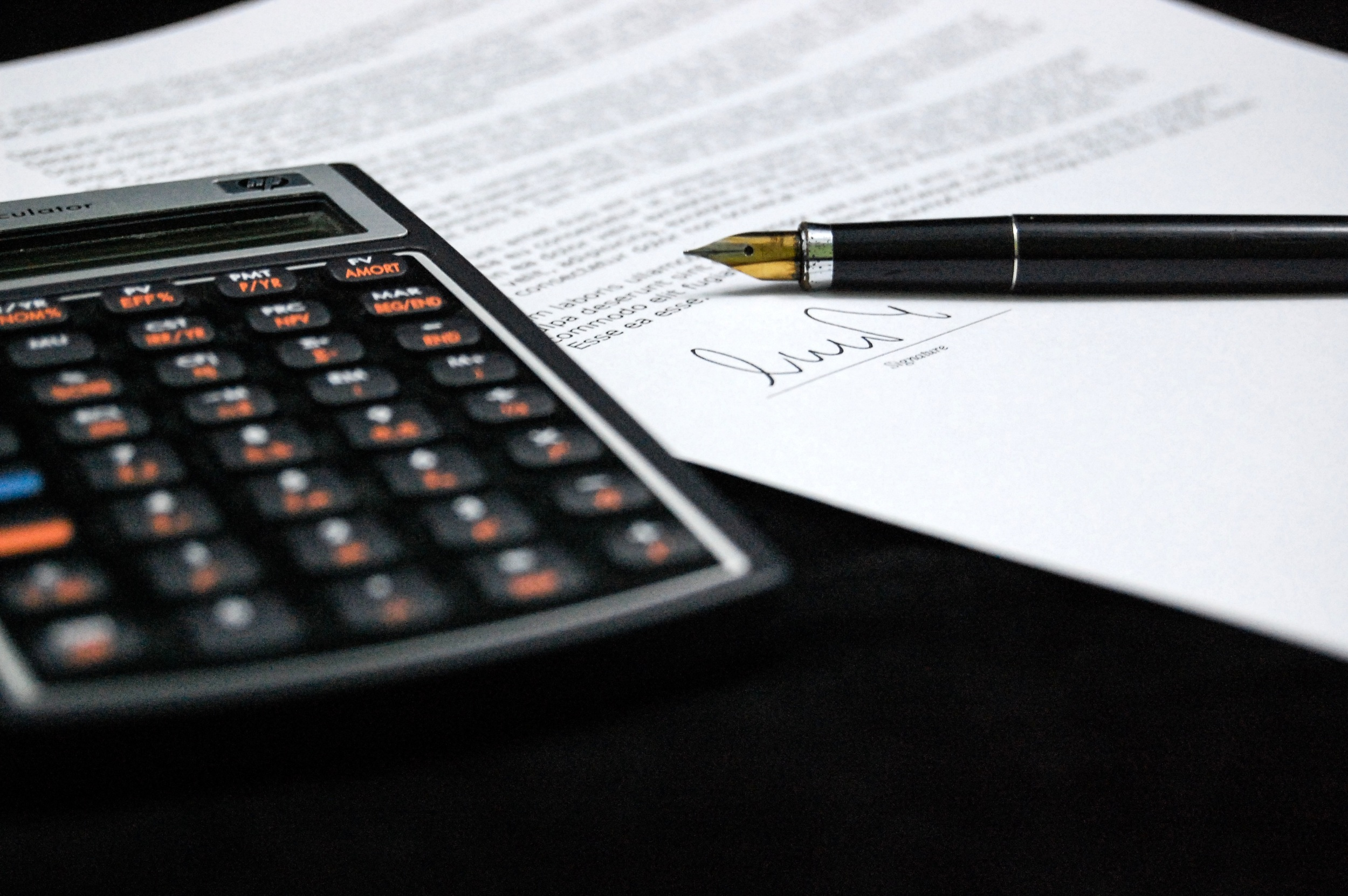 Calculator and Document with Fountain Pen