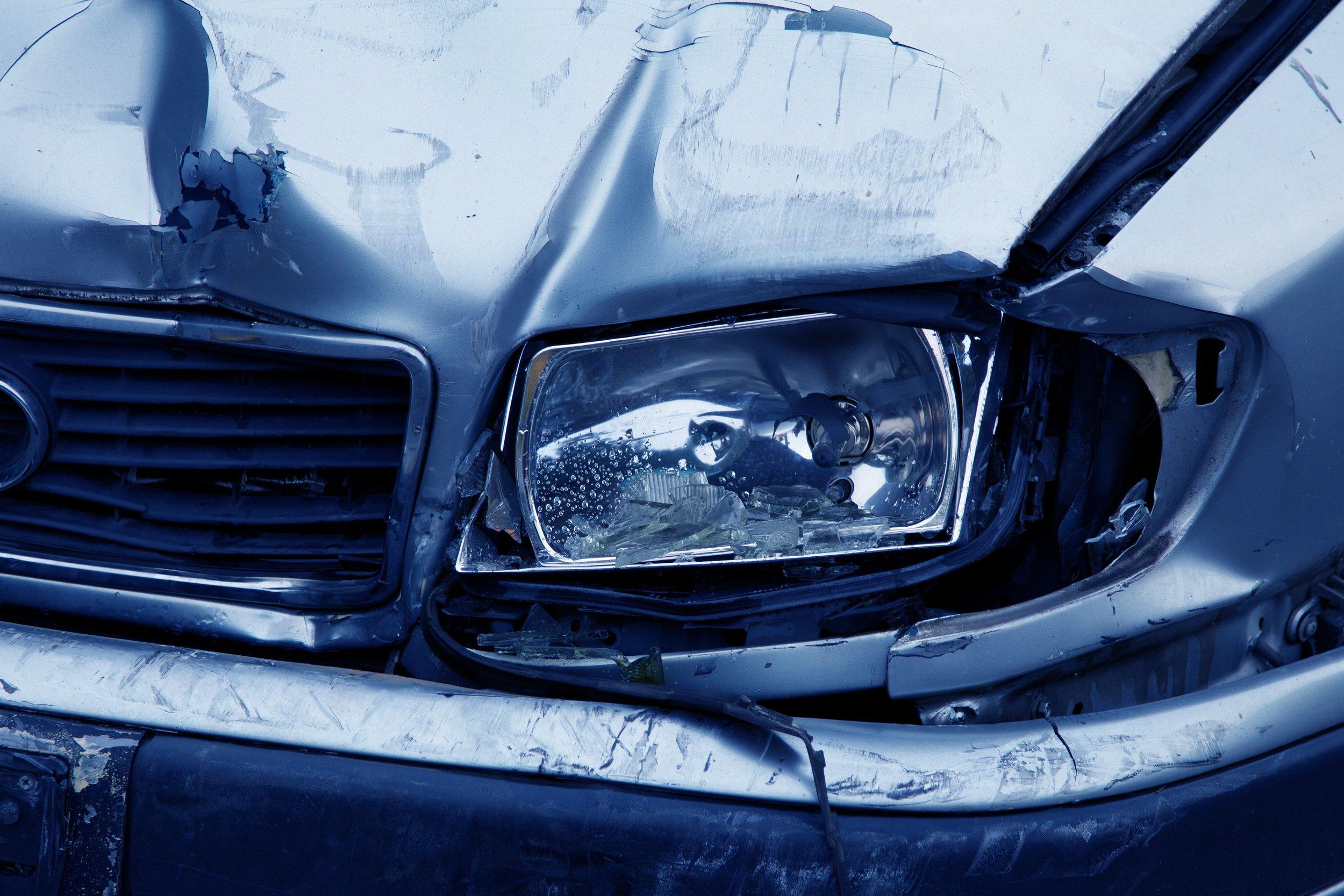 Damaged car headlight