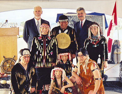 Celebrating harbour divestiture with Minister David Anderson & Esquimalt Nation Dancers