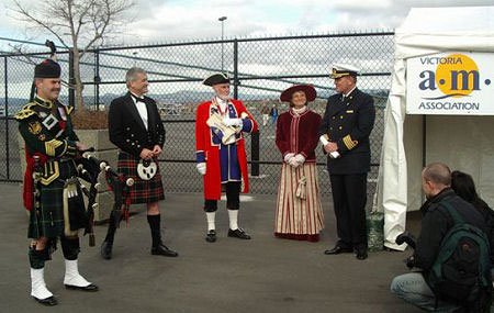 Welcoming the Captain of the MS Amsterdam to Victoria with Victoria AM Members