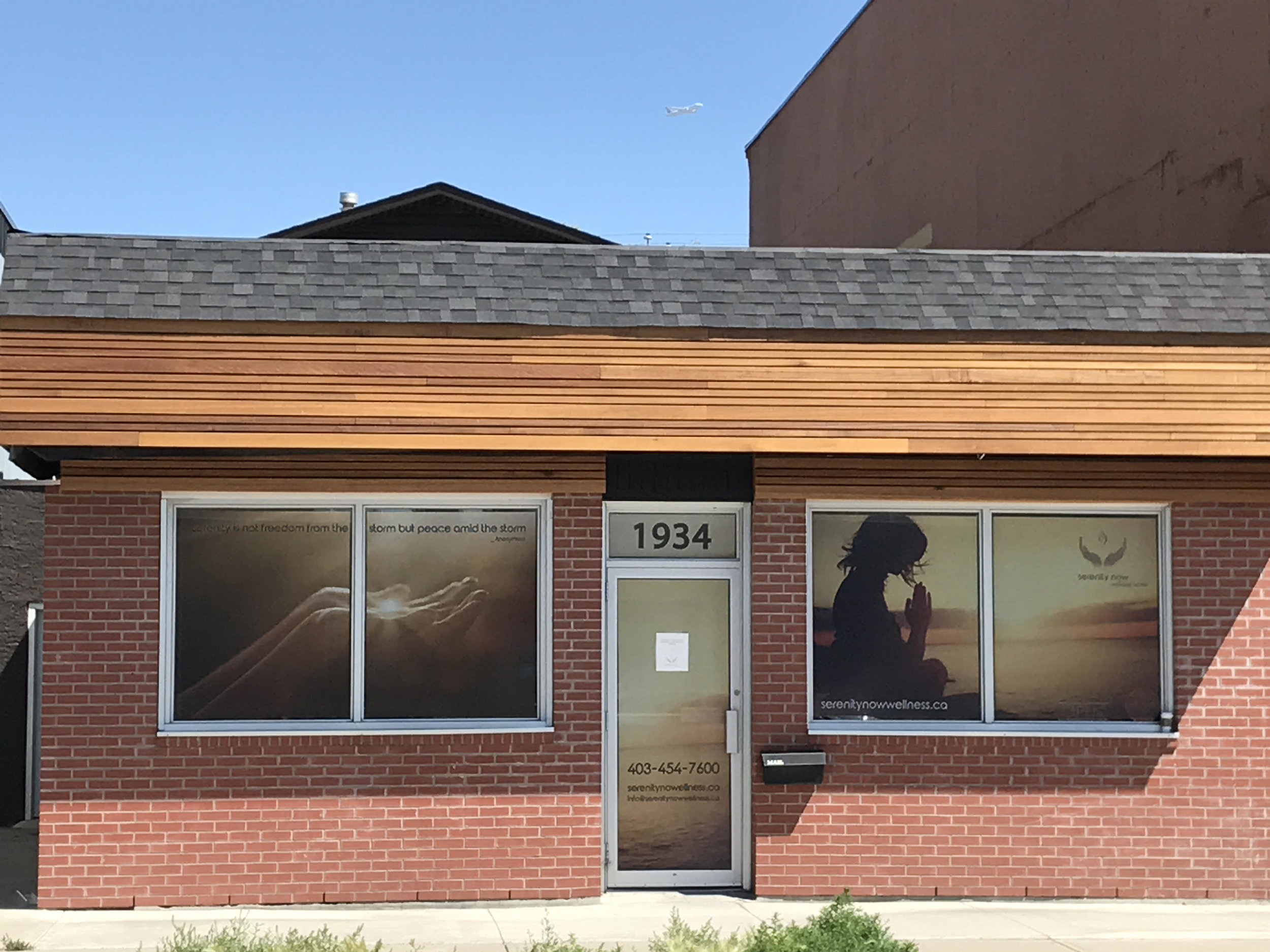 The new Serenity Now Wellness Center is located at 1934 9 Ave SE in Calgary, AB.