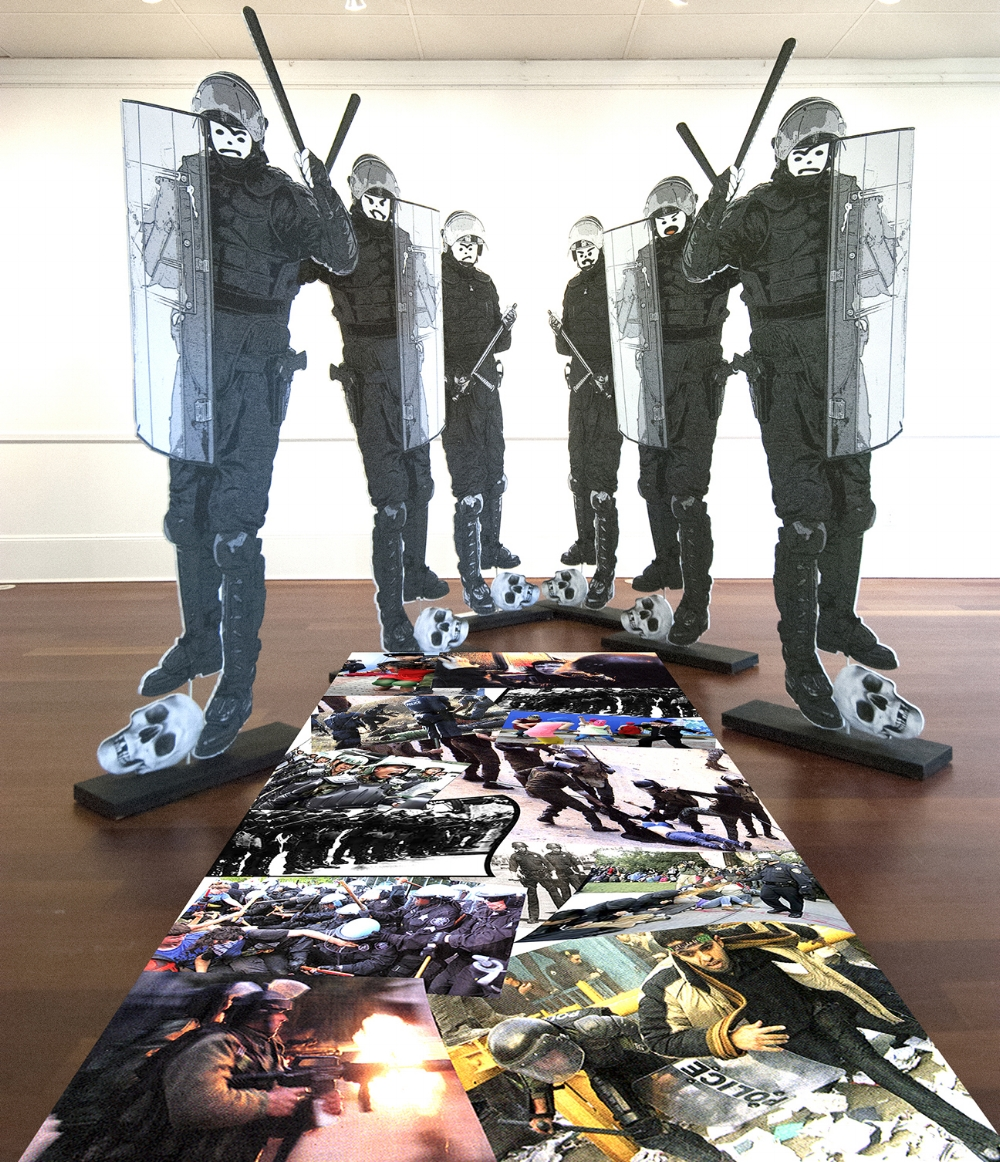 """Excessive Force - Installation  Mixed Media Figures 76 x 32"""" each"""