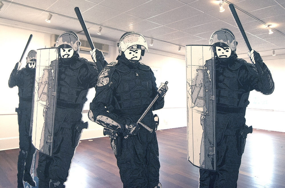 """DETAIL  - Excessive Force - Installation  Mixed Media Figures 76 x 32"""" each"""