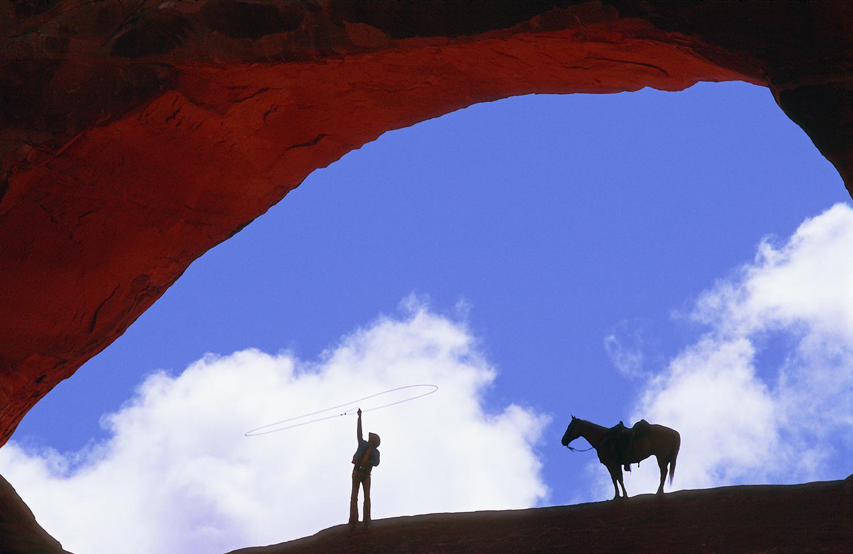 Cowboy At Wilson's Arch 1
