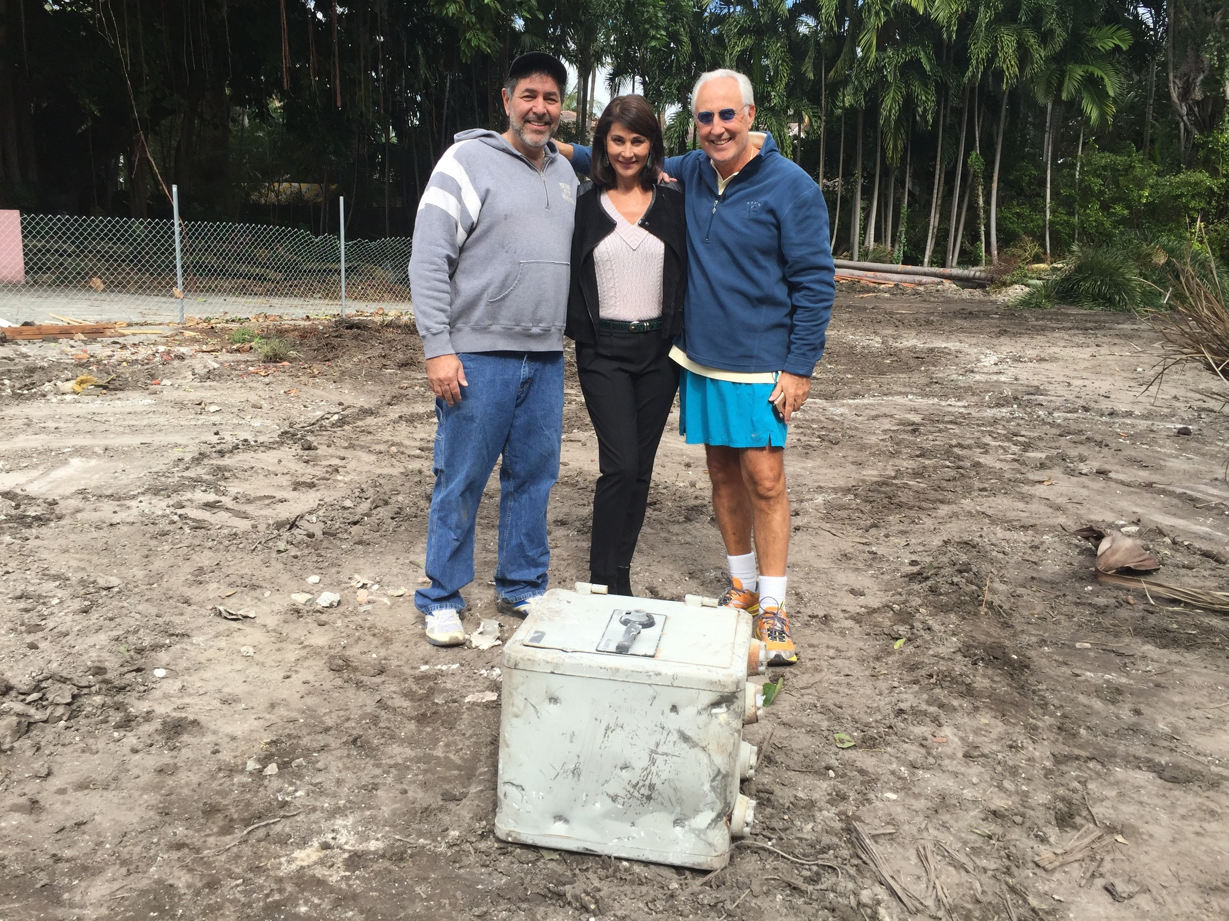 With friends and project partners Jennifer Valoppi &  Christ  ian deBerdouaire with the safe discovered at Pablo Escobar's North Bay Road property