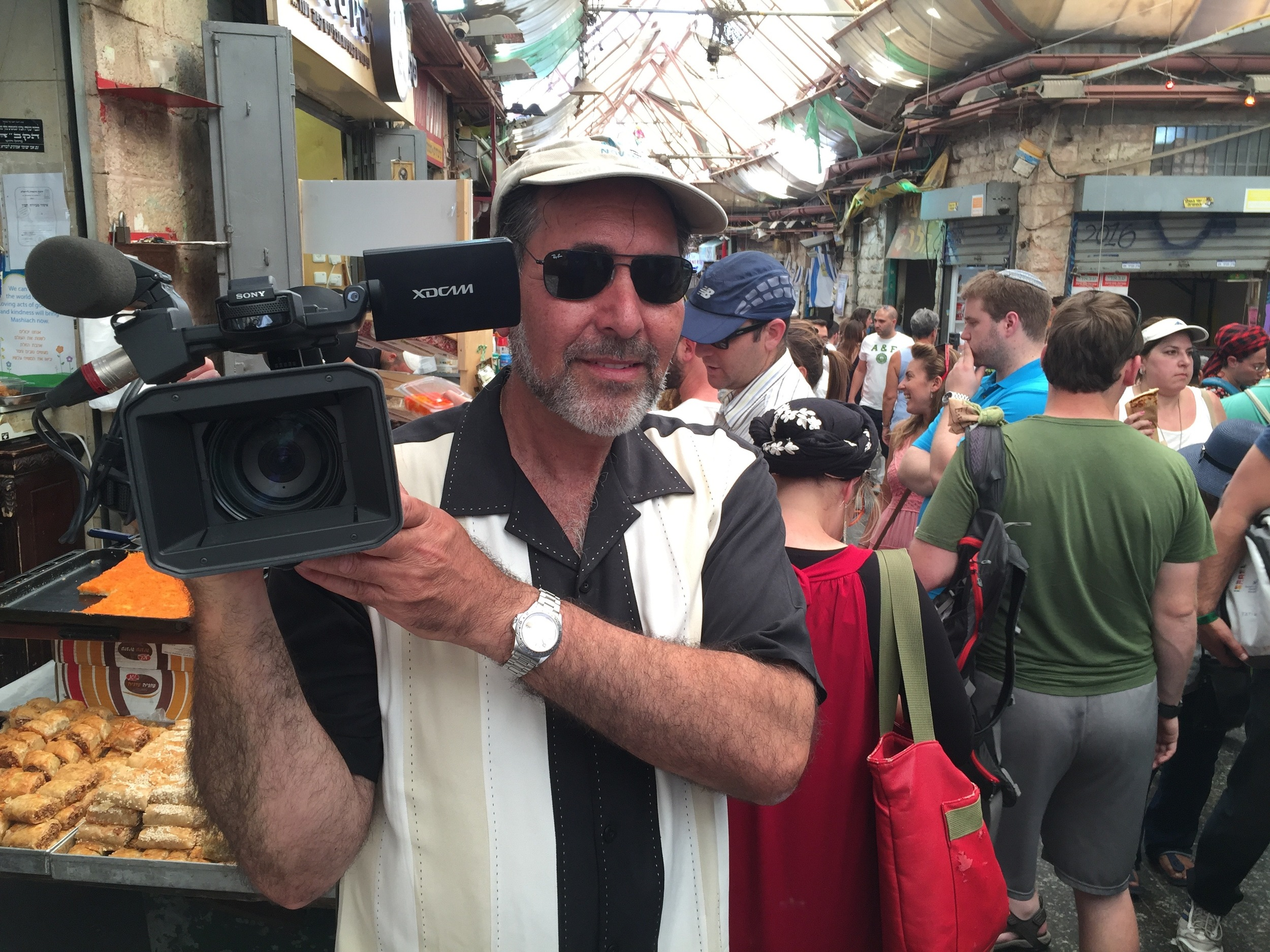 On location filming in the Shook, Jerusalem