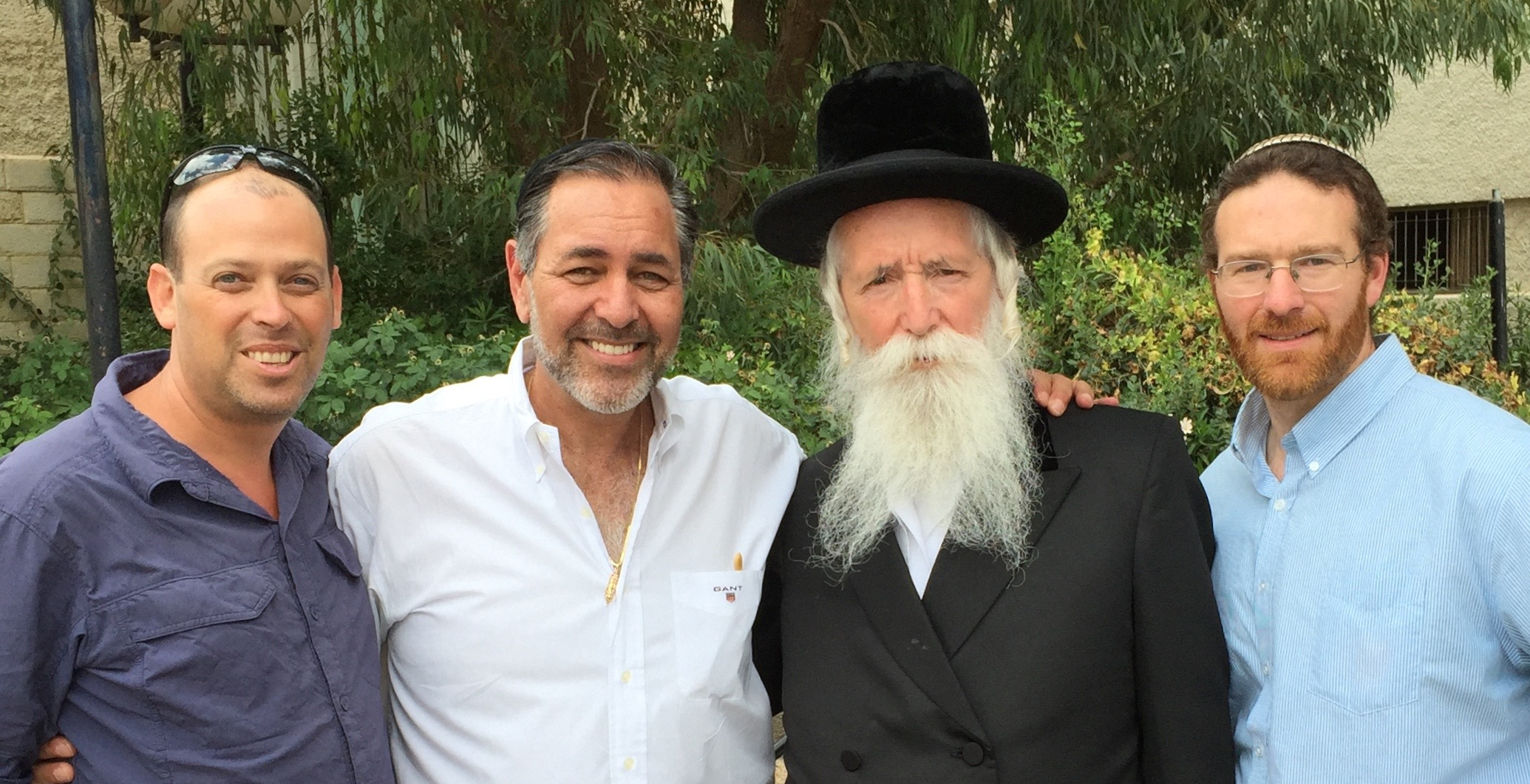 "The famous ""Disco Rabbi"" of Migdal Or, Rabbi Yitzchak Dovid Grossman - with Israeli Crew members Binyamin Gilbert and Oren Rosenfeld"