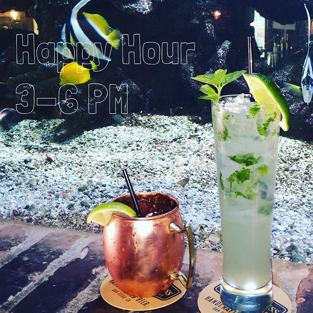 TGIF! Start this holiday weekend off with us. Happy Hour is from 3-6pm, come sit back and relax in our bar and lounge with some of our refreshing #cocktails or #craftbeer. Featured in this 📷 is our Moscow Mule and Bacardi Limon Mojito. #happyhour #fridayhappyhour #eatfish #presidentsday #3dayweekend #fishhouseveracruz