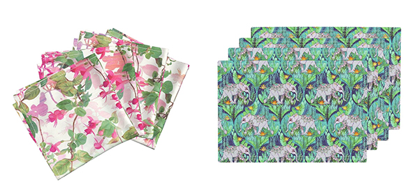"Amarela cloth dinner napkins featuring ""Rainbow Fuchsia Floral Painted Pattern"" by Micklyn (left) Lamona cloth placemats featuring ""Little Elephant on a Jungle Adventure"" by Micklyn."
