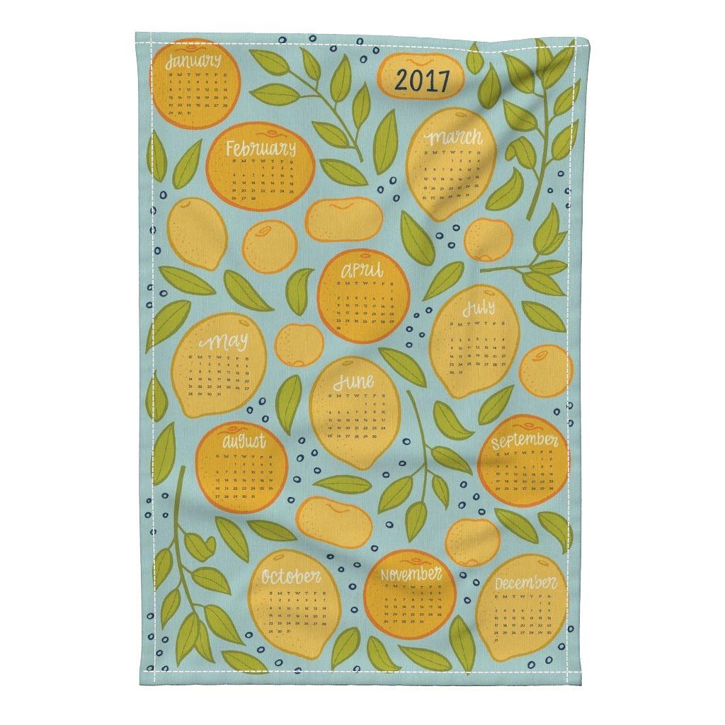 2017 Citrus Tea Towel Calendar Robin's Egg by jaymehennel
