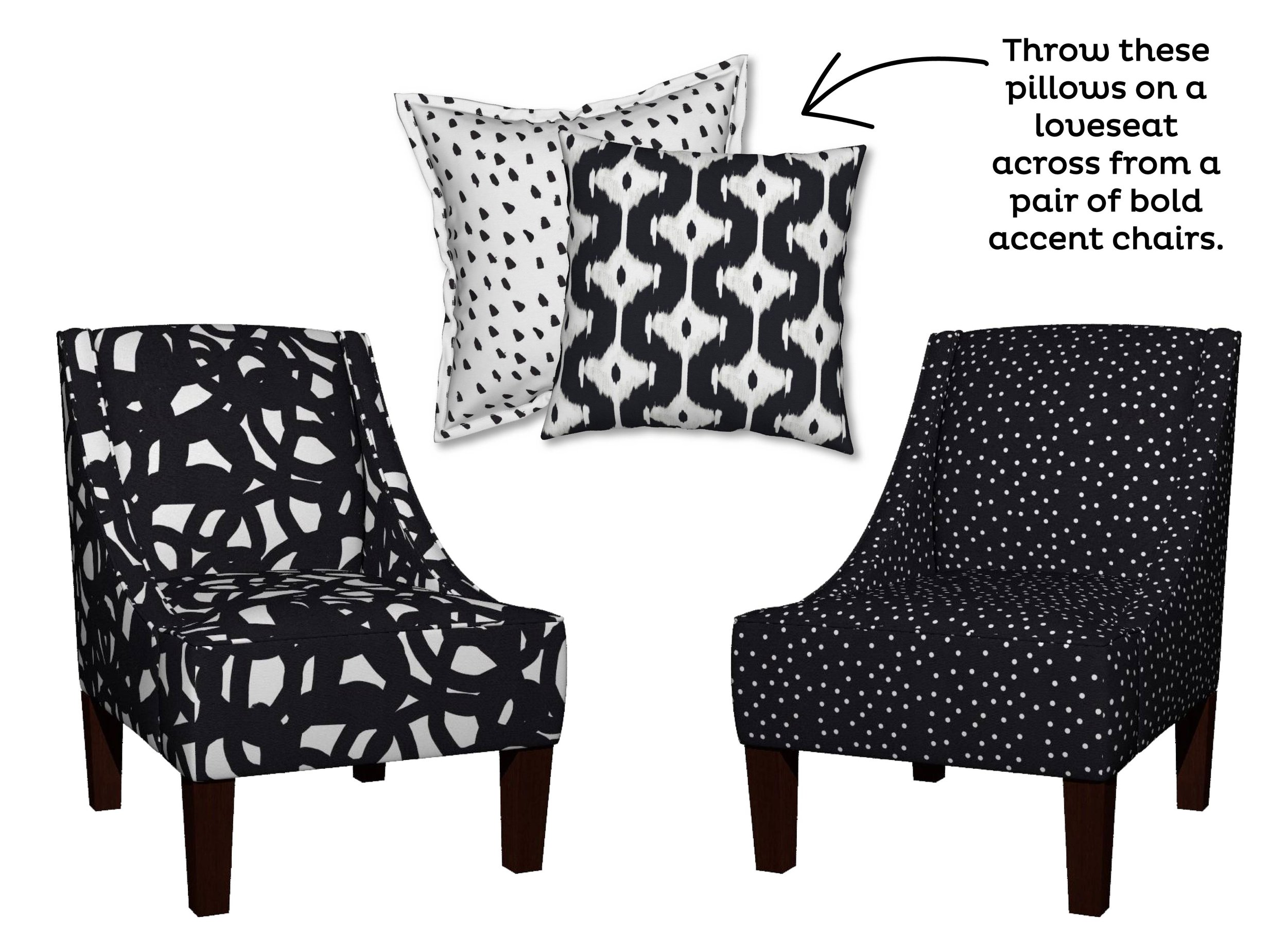 Freestyle in Black Venda Chair  by  Domesticate ;  Painted Black Dots on White Serama Pillow  by  WeeGallery ;  Ikat Offset Diamond Catalan Pillow  by  Fable_Design ;  Polka Dot White on Black Venda Chair  by   PencilMeIn