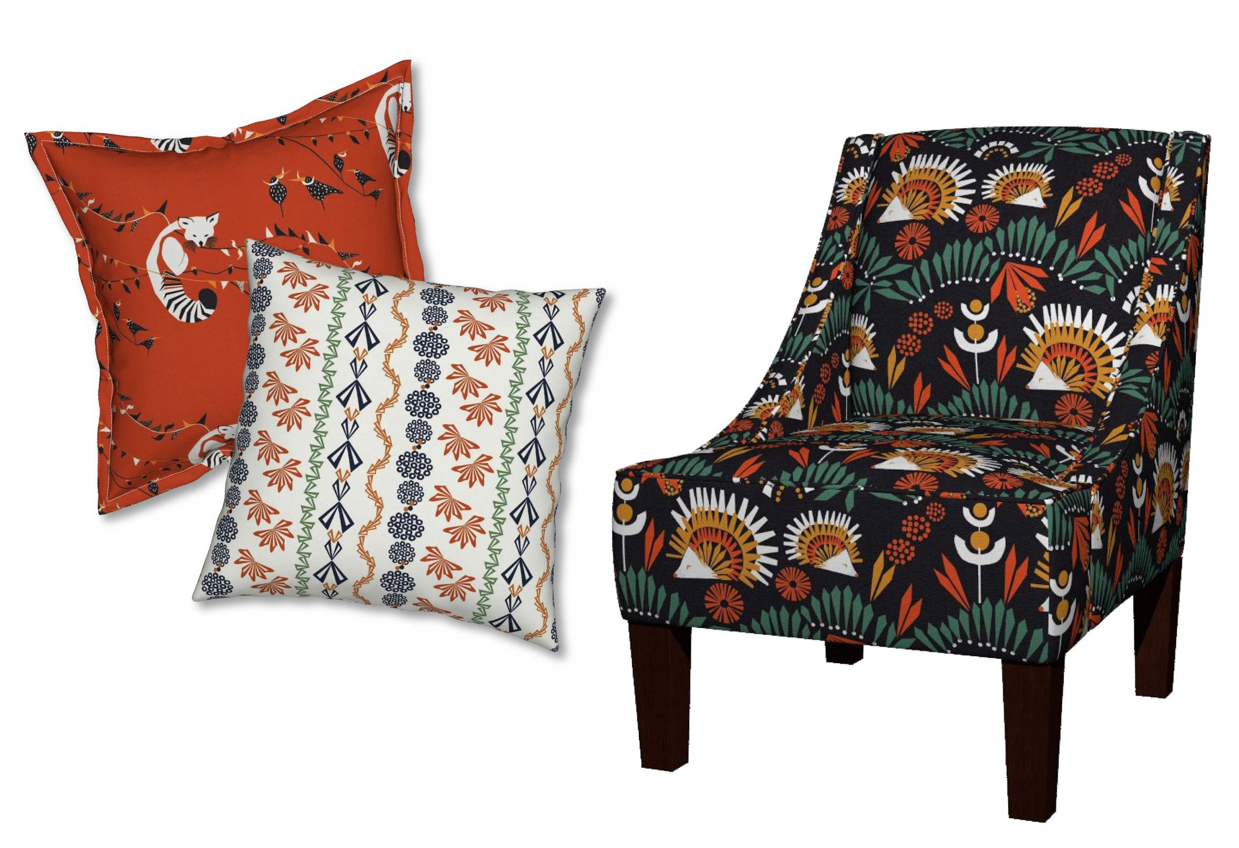 Whiskers(!) and Moustaches Serama Pillow ;  Berries and Flowers Catalan Pillow ;  We Mostly Come Out at Night Venda Chair  by  Mirjamauna
