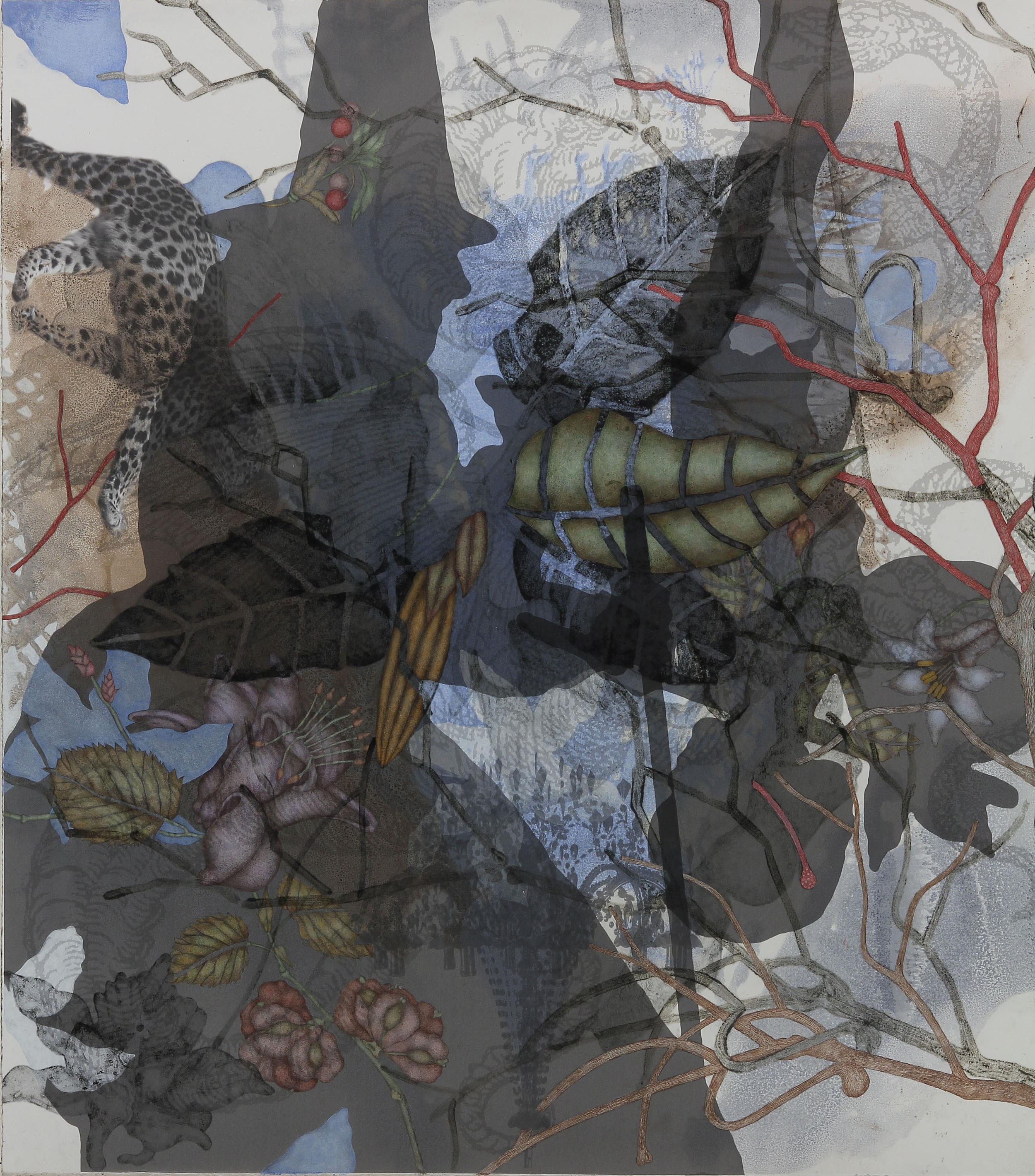 """Amur Leopard (2015), 36"""" x 32"""", Oil, asphaltum, inkjet, and acrylic pigment on Arches Heavyweight paper"""