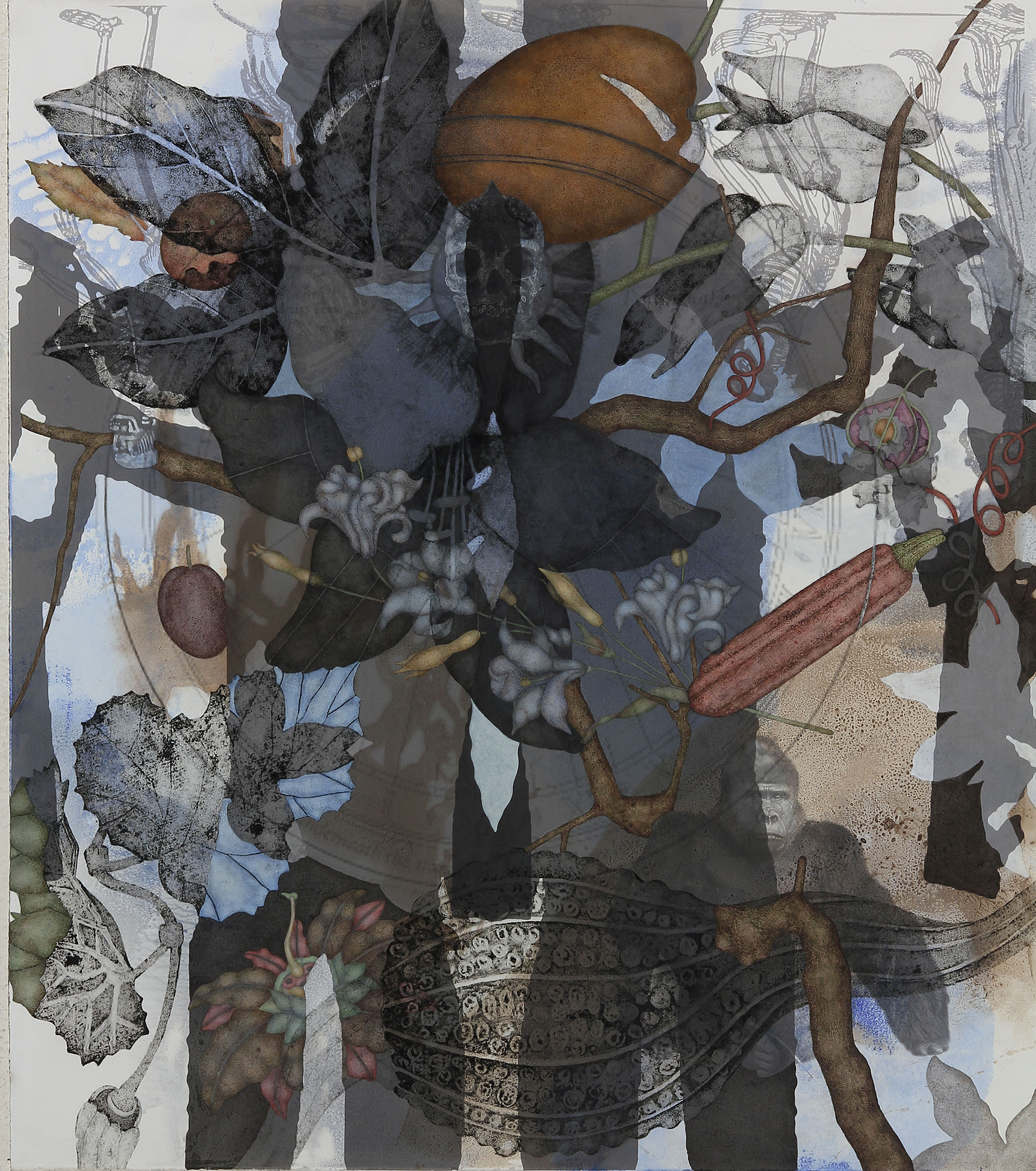 """Mountain Gorilla (2015), 36"""" x 32"""", Oil, asphaltum, inkjet, and acrylic pigment on Arches Heavyweight paper"""