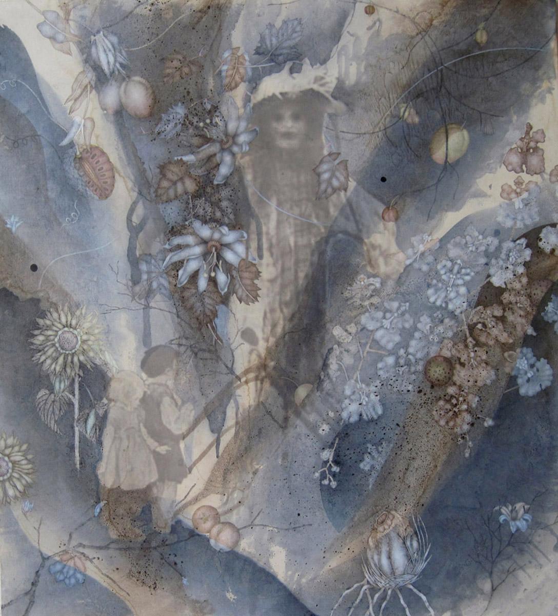 "Autumn Gethsemane (2011), 42"" x 38"", Oil, asphaltum, encaustic,and inkjet on Okawara Paper, mounted on canvas"