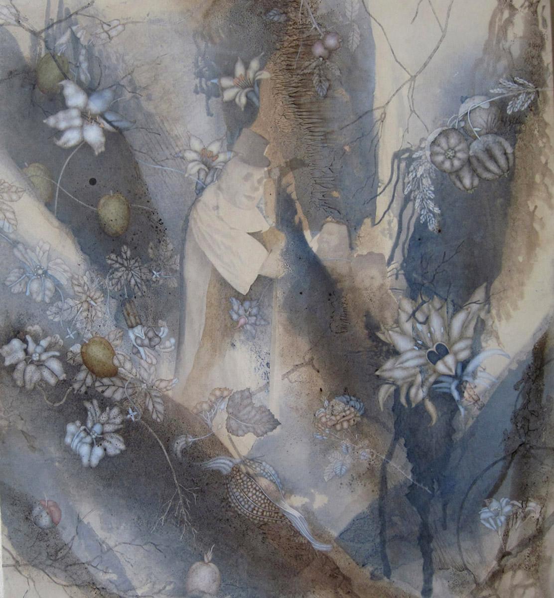 "Winter's Legerdemain (2011), 42"" x 38"", Oil, asphaltum, encaustic,and inkjet on Okawara Paper, mounted on canvas"
