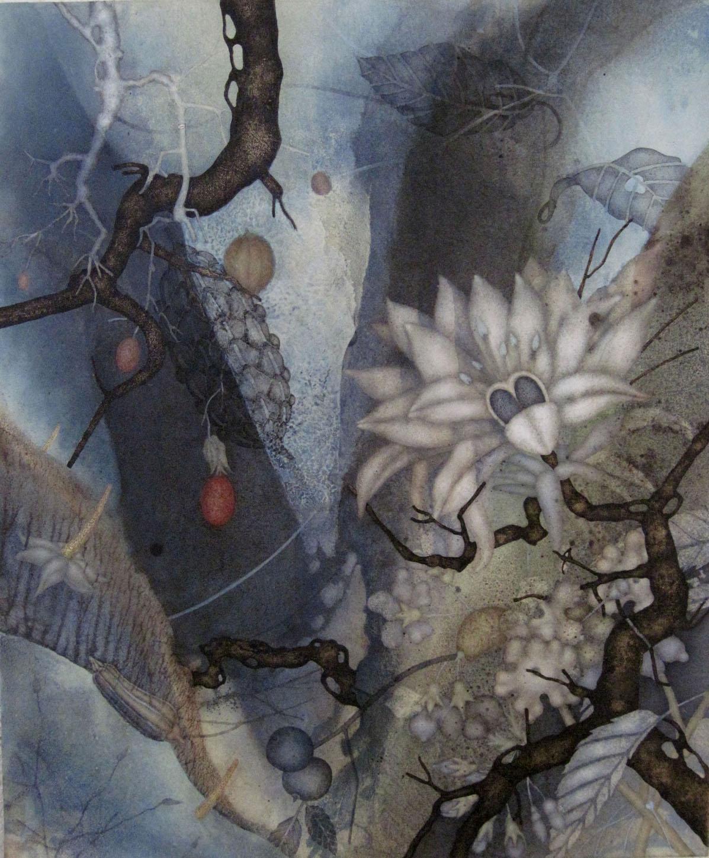 "Angel's Share (2015), 20"" x 20"", Oil, asphaltum, gold leaf, and encaustic on Okawara paper, mounted on canvas"