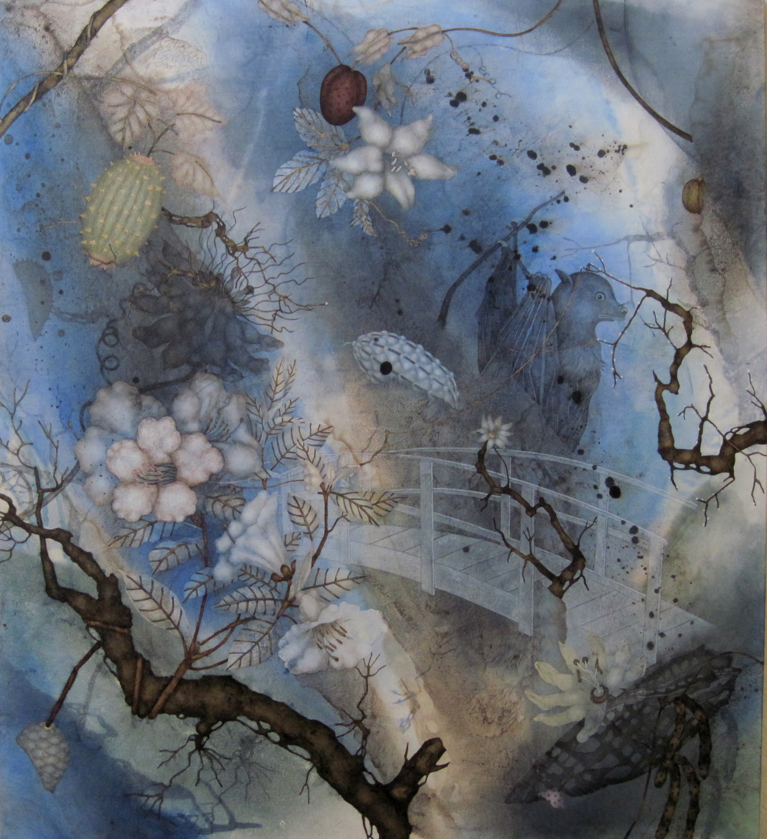 "Great Unravel (2016), 42"" x 38"", Oil, asphaltum, gold leaf, and encaustic on Okawara paper, mounted on canvas"