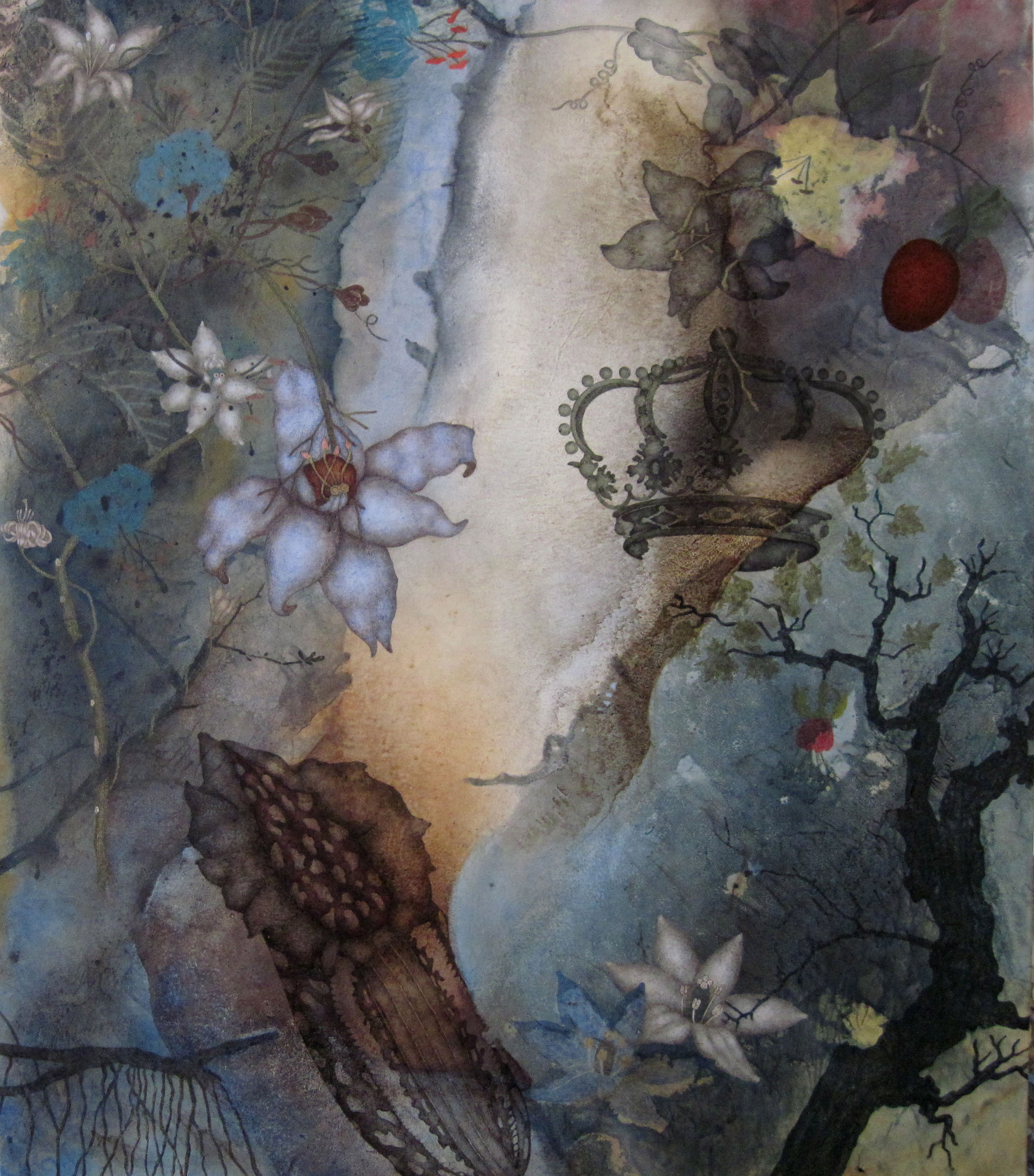 "Crowning (2016), 38"" x 32"", Oil, asphaltum, gold leaf, and encaustic on Okawara paper, mounted on canvas"