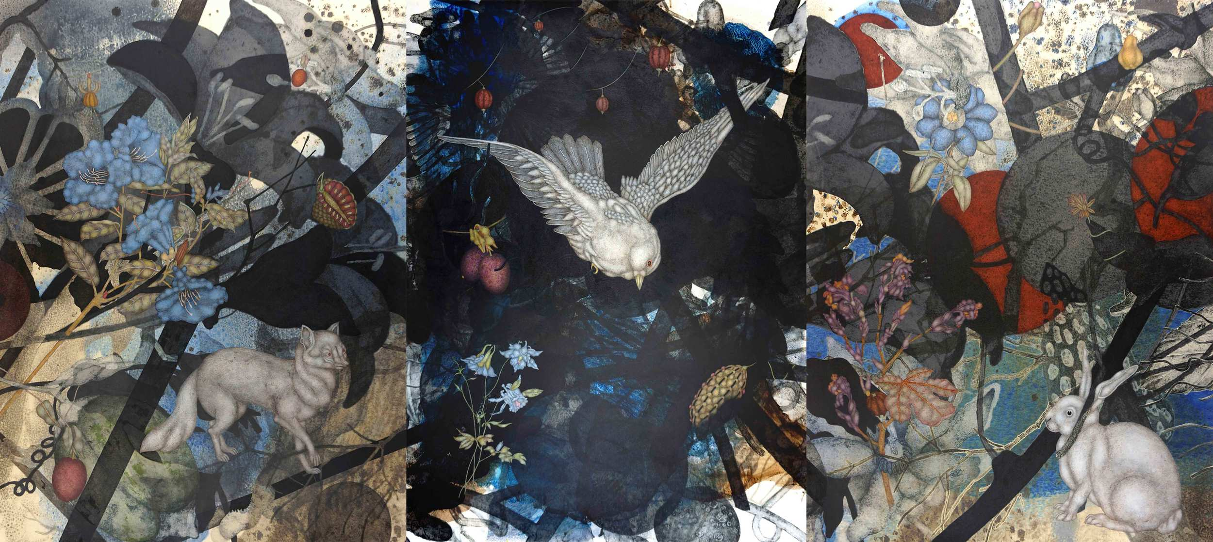 "Eve's Rise (2013), 43"" x 96"", Oil, asphaltum, and acrylic pigment on Arches Heavyweight paper"