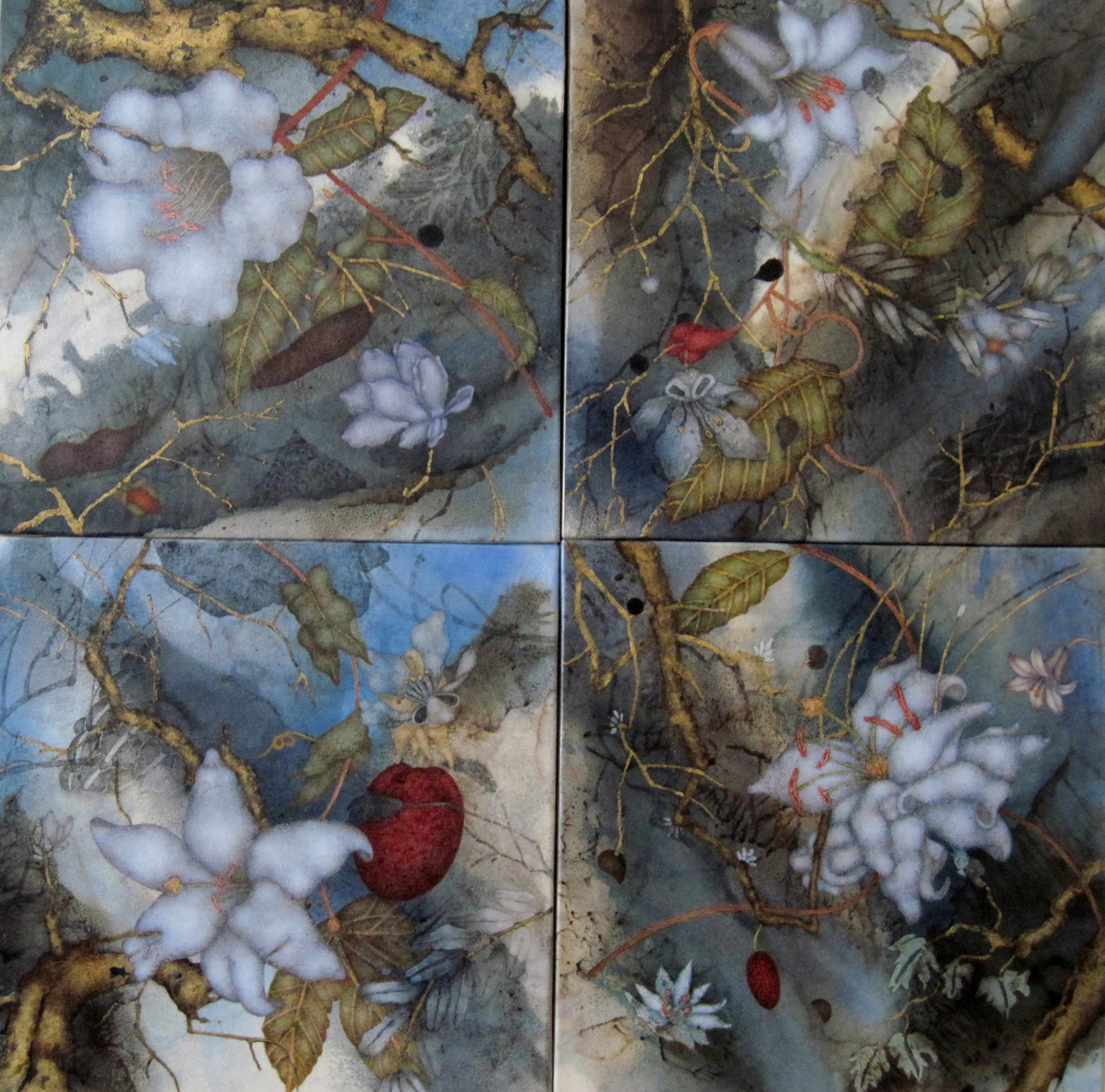 """Chasing Grace (2017) 24"""" x 24"""", oil, asphaltum, and gold leaf on Okawara paper mounted on four individual canvases"""