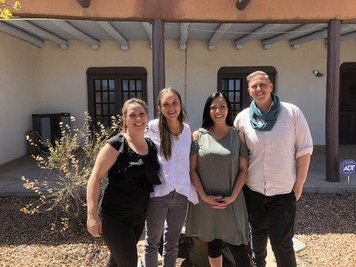 From left to right: Belin Marcus (Midwife), Simone Jaramillo (Apprentice Midwife), Jeanette Tsosie (Receptionist/doula/lactation educator) and Jessica Frechette-Gutfreund (ED/Midwife).