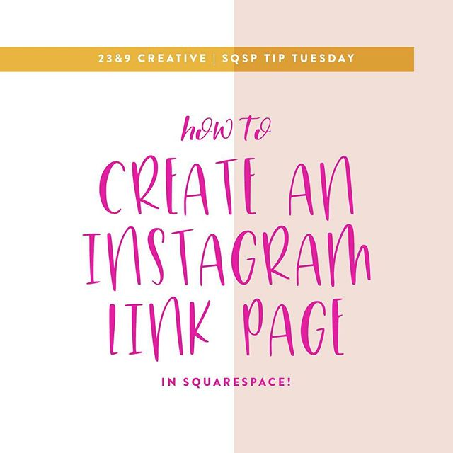 """TIP TIME! 👩🏼💻💞🎉 Say bye bye to linktree or third party link pages and take even more control of your Instagram links by making it on your website in Squarespace! . Here's 3 easy steps how: . 1️⃣) Create a new page under the NOT LINKED section of your pages. Tip: Check the url name of the page (ex. """"/instagram"""") in the settings wheel for your page and make sure it's what you want it to be - this is what will appear as the url in your profile on Instagram! . 2️⃣) Add a text block (maybe even a photo block!) as the top of your page to welcome people and say what this page is (ex. @23and9creative take a look around!) . 3️⃣) Add button blocks stacked on top of each and centered for each page you want to link to! When you add a button block you can type in whatever you want to appear on the button as well as link it to any page on your website! . *BONUS* If you really want to up the design of your page you could us the card image block or poster image block and use a photo with each link! . The benefit of creating your link page in your website vs. using a third party is that you are driving traffic to your website! Then they have the ability to directly click around your website instead of being in a third party site! TA DA! 🤗 . Do you have your own Instagram links page?!"""