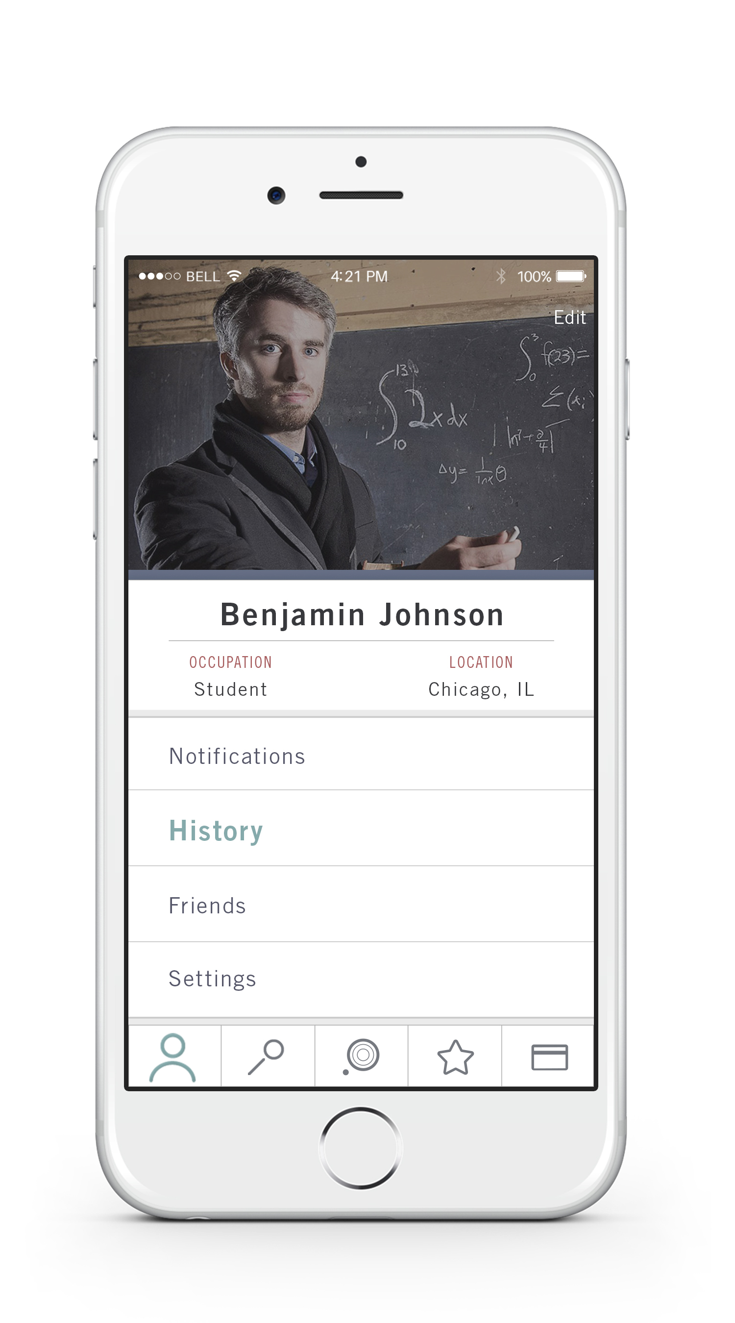 Profile    —   The profile tab provides information about the user as well as shows notifications, past visits to study spots, as well as friends and settings.