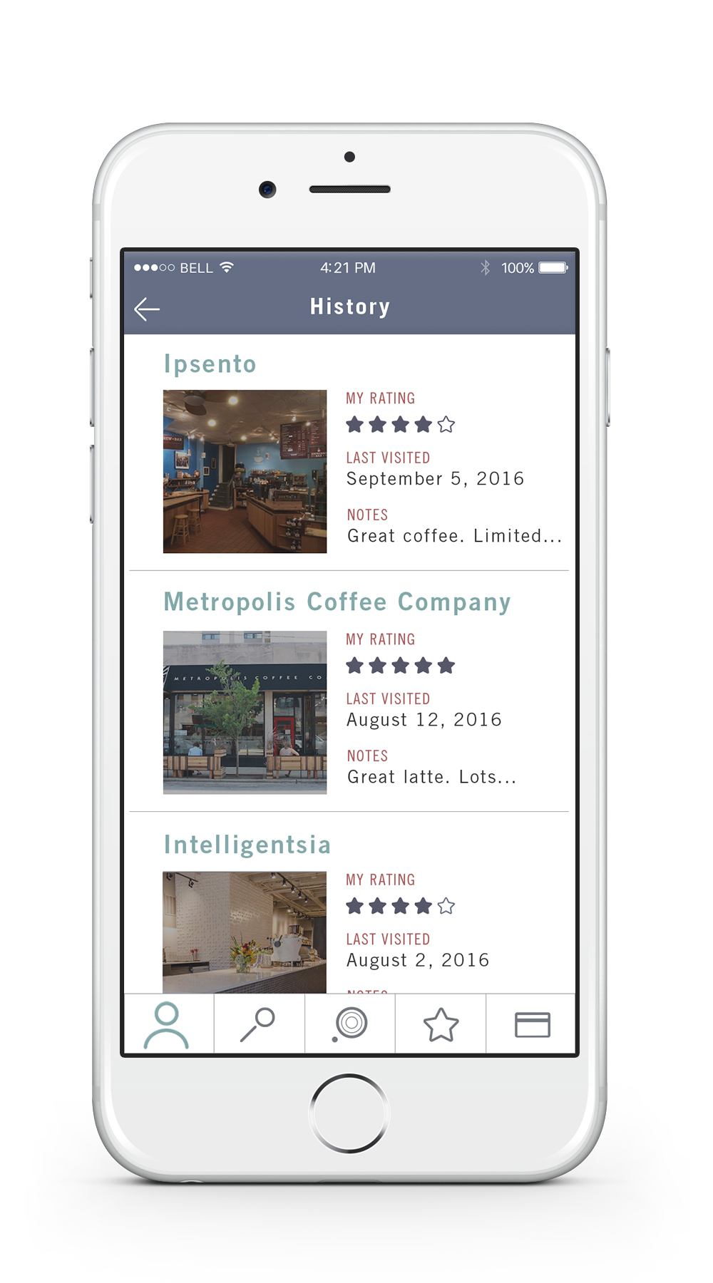 History    —   The history screen lists all locations the user has visited. The app uses a geo locater to place where the user has been as well as keep track of how many people are at a location.