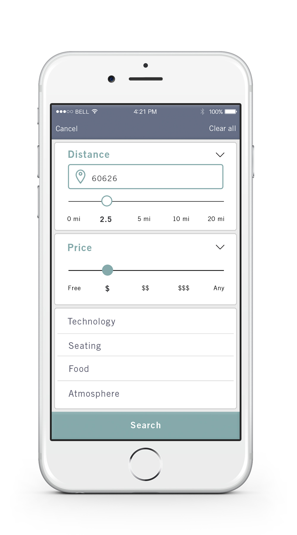 Filter    —   The search tab allows the user to filter the search results based on distance, price, as well as technology, seating, food and atmosphere.