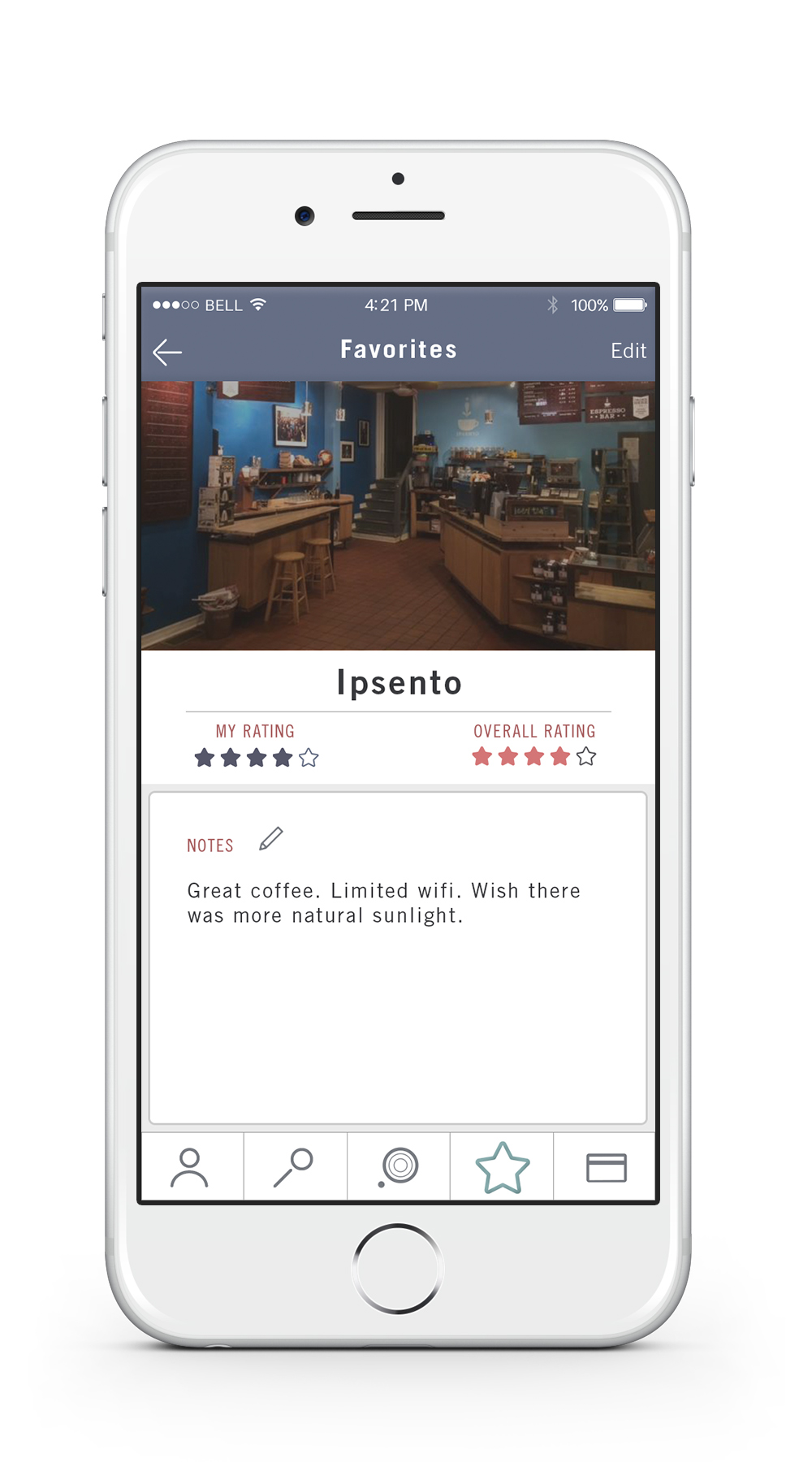 Notes    —   Locations that have been favorited or added to the user's history have note profiles where the user can add brief descriptions about their experience, such as what drink they ordered.