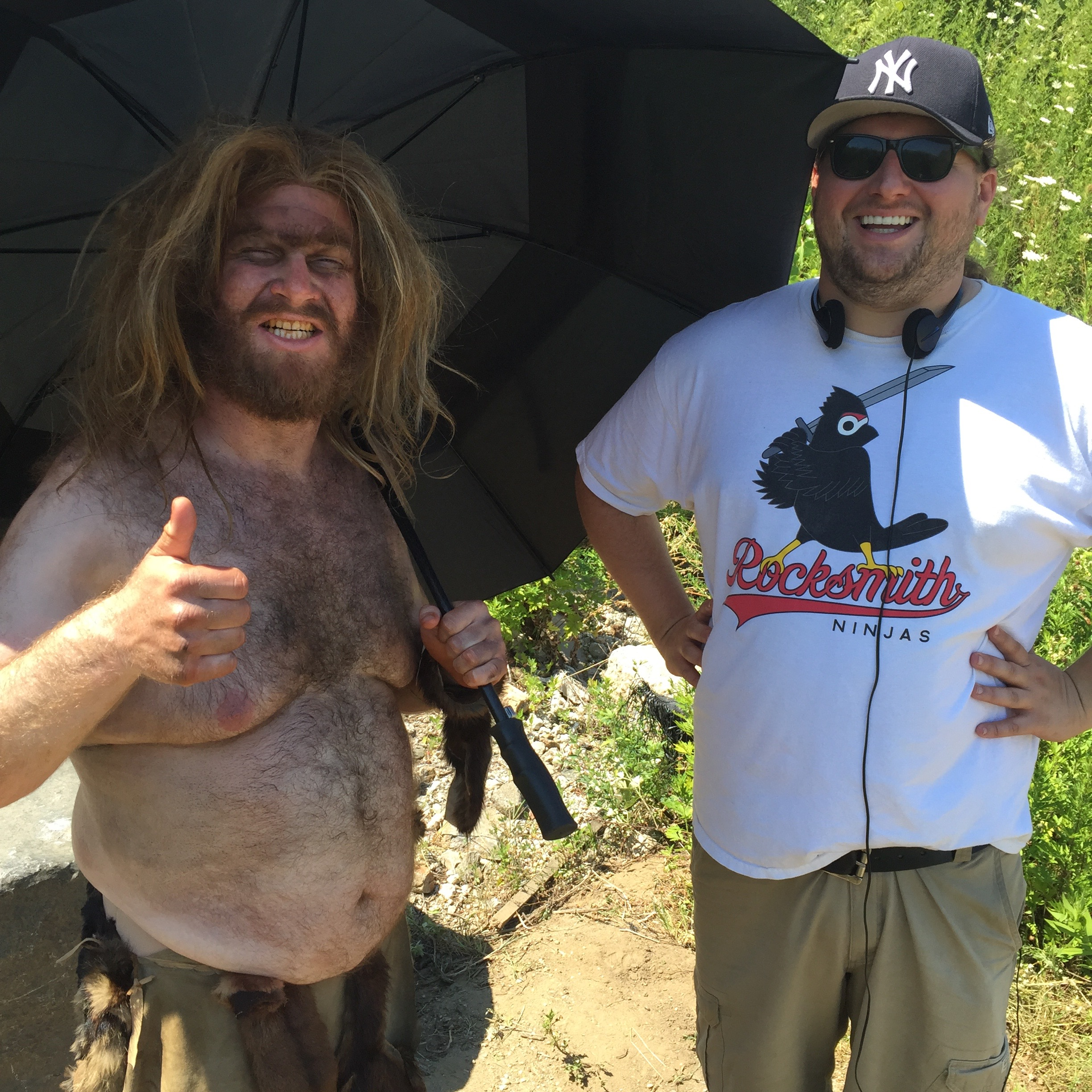 Henry and Ed on the day we shot the caveman sketch.  It was hot and clearly we were miserable that day.