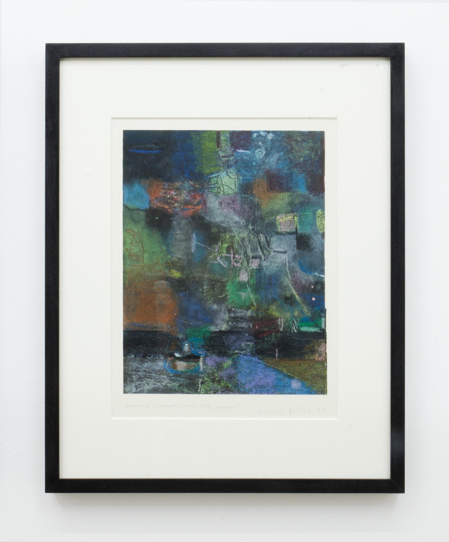 Ed Fella, Untitled, 2014, oil pastel on plastic bag, 38.8 x 31 cm (Framed).