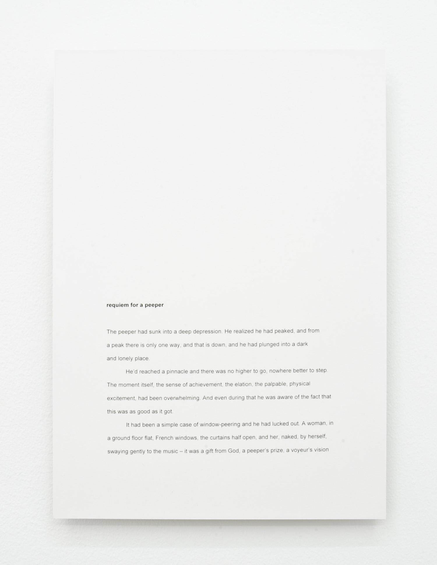 David L. Hayles, requiem for a peeper, 2014, laser print mounted on aluminium, 29.7 x 21cm.
